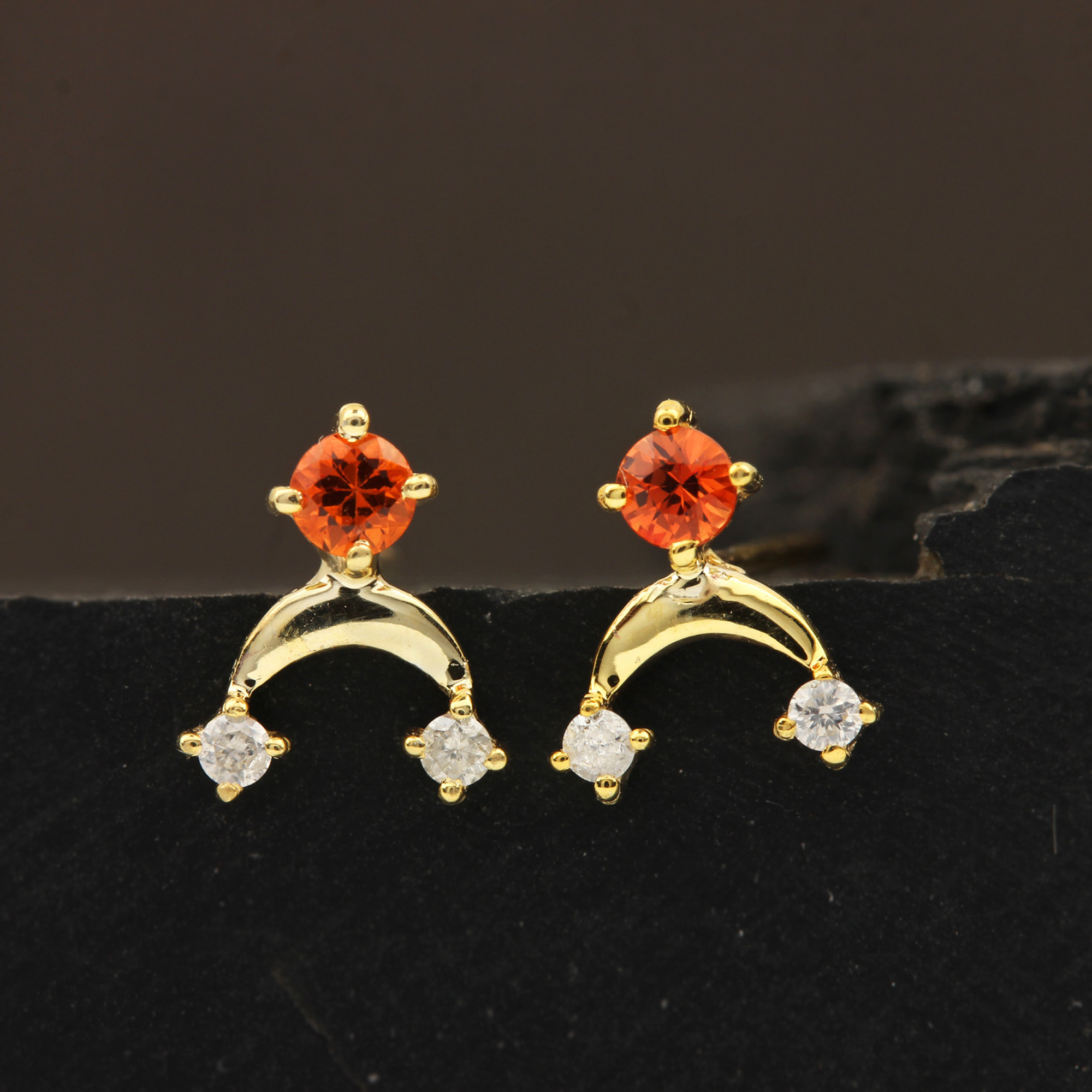 Solid 14k Gold Stud Earrings Adorned With Diamond & Sapphire Gemstone