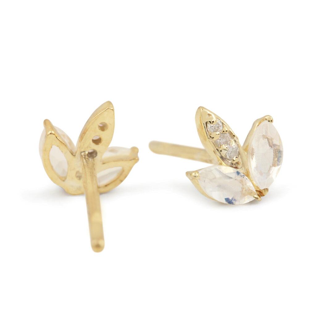 Solid 14k Gold Stud Earrings Adorned With Diamond & Rainbow Moonstone Gemstone