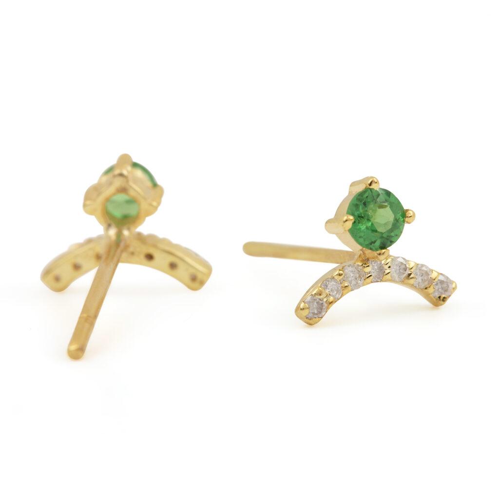 Natural Tsavorite Gemstone 14k Solid Gold Stud Earrings Adorned With Diamond