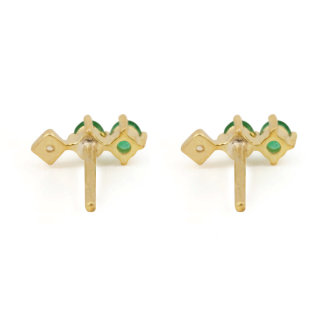 Solid 14k Gold Minimalist Stud Earrings Adorned With Diamond & Natural Emerald