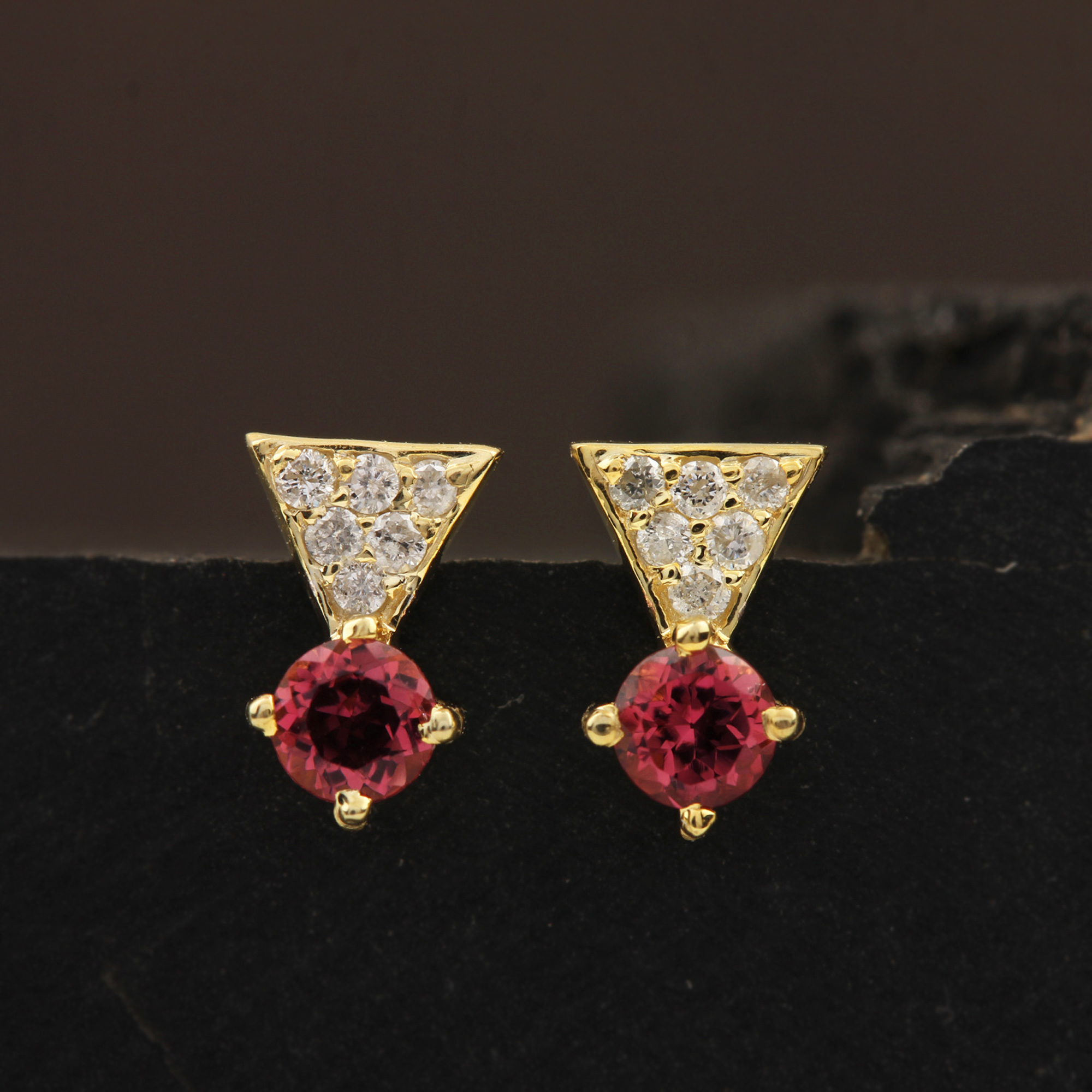 Solitaire Stud Earrings Adorned With Diamond & Natural Tourmaline 14k Solid Gold Jewelry