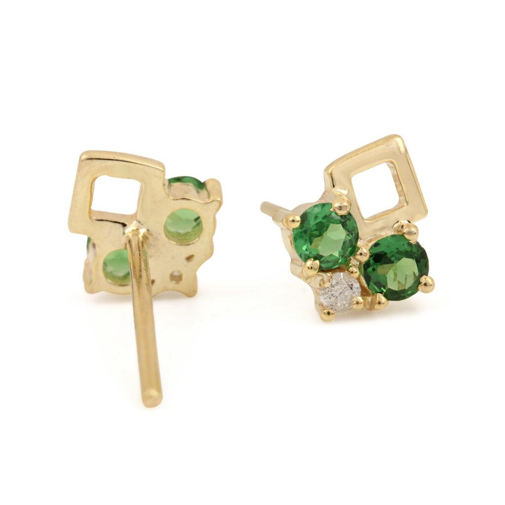 Solid 14k Gold Solitaire Stud Earrings Adorned With Diamond & Tsavorite Gemstone