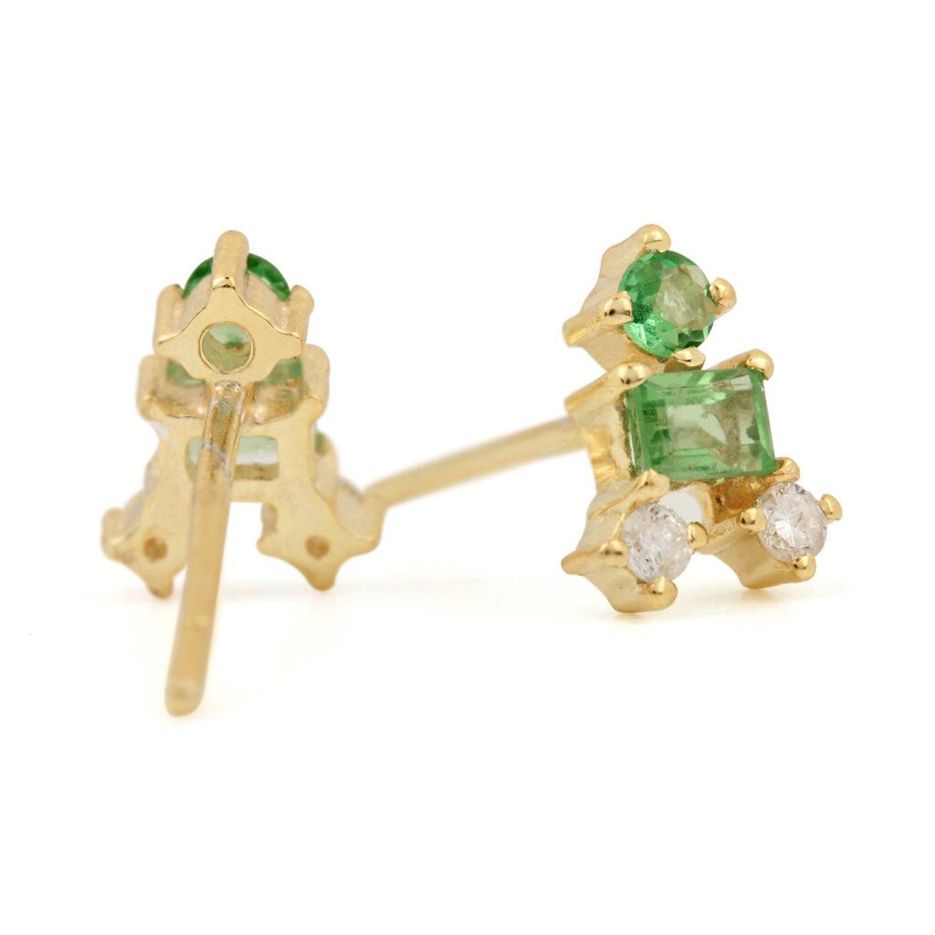 Solid 14k Gold Stud Earrings Adorned With Diamond & Natural Tsavorite Gemstone