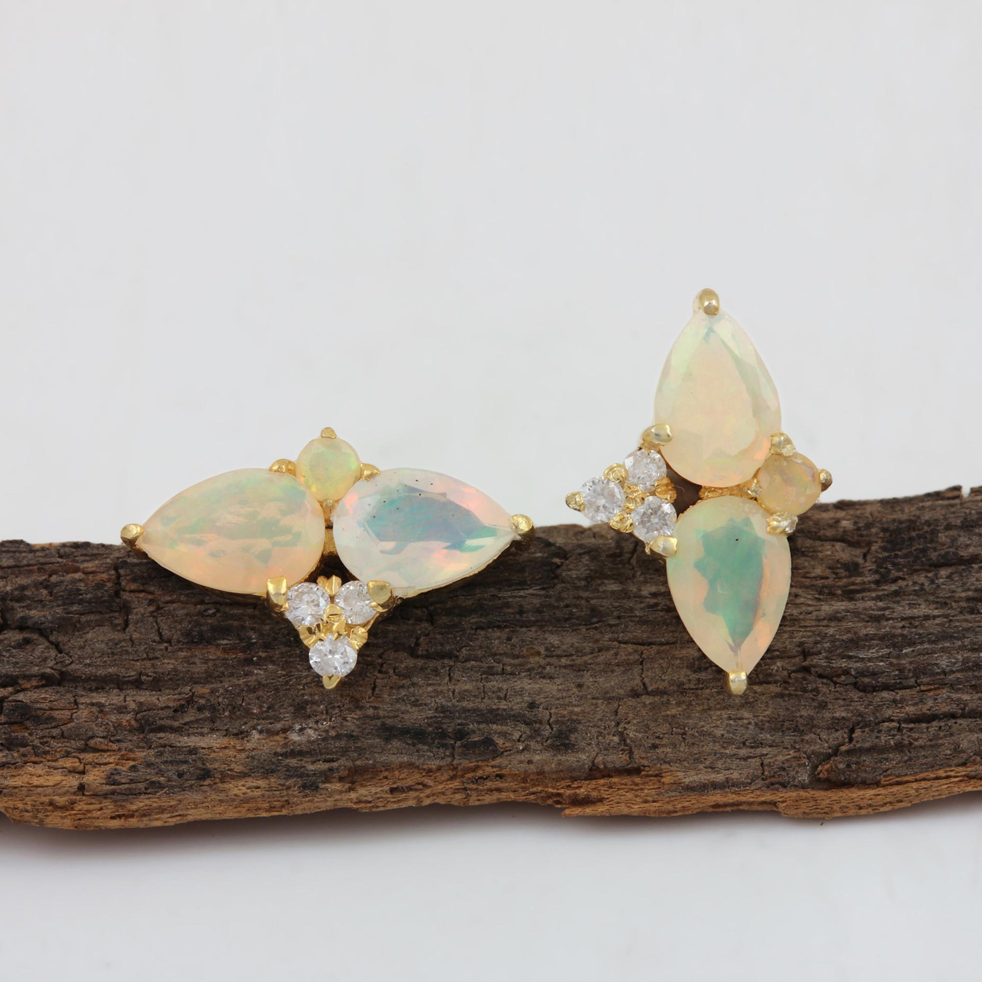 Natural Opal Minimalist Stud Earrings 14k Solid Gold Diamond Jewelry