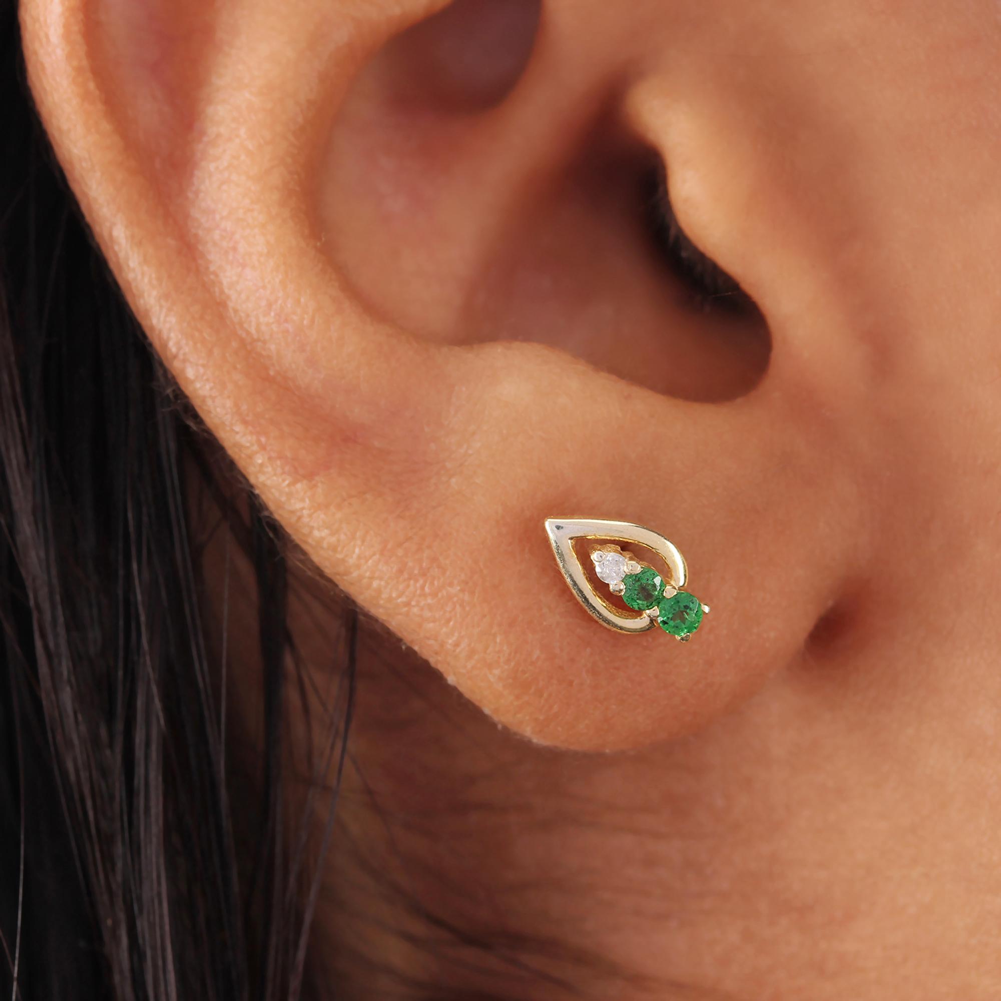 14k Solid Gold Diamond Tsavorite Minimalist Stud Earrings