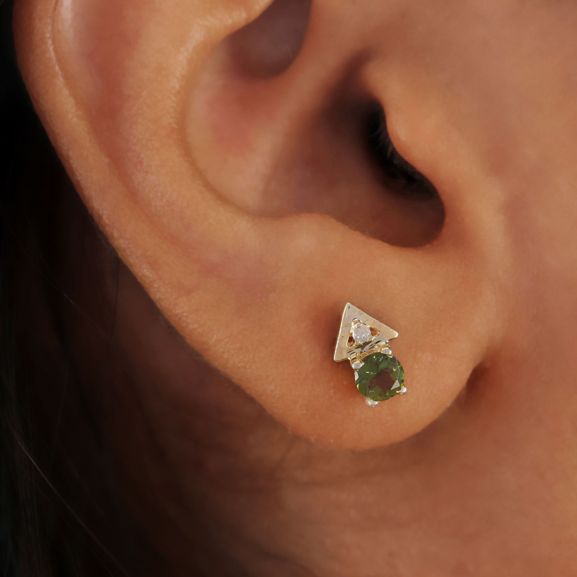 Solid 14k Gold Natural Diamond Gemstone Tourmaline Solitaire Stud Earrings