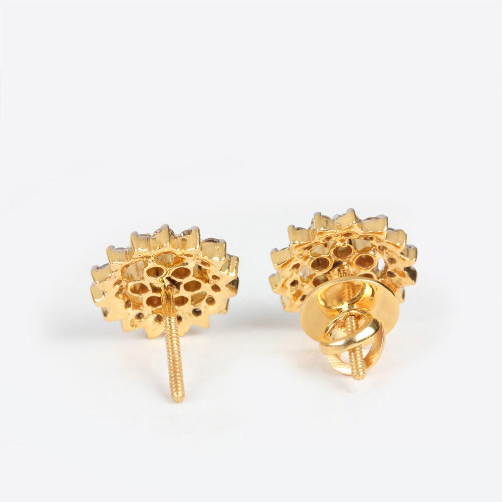 Solid Gold Diamond Earrings
