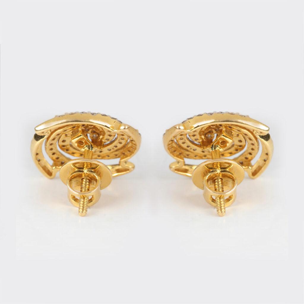 14k Solid Yellow gold Diamonds Stud Earrings