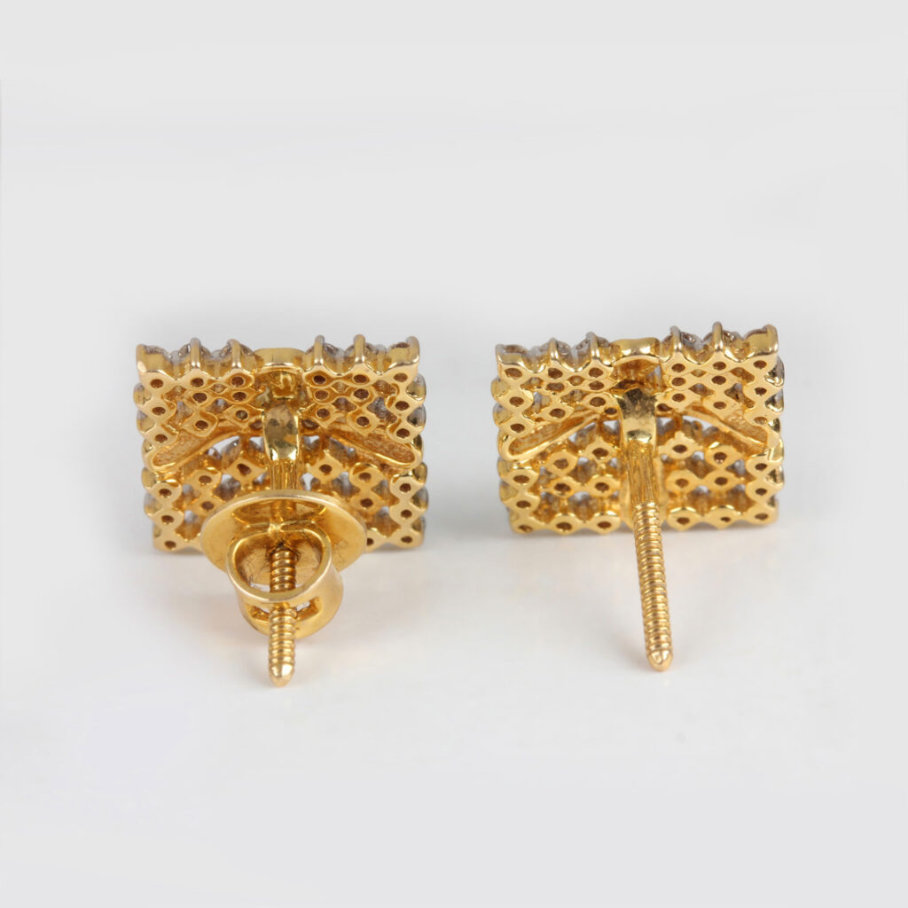 14k Gold Square Design Earrings with Diamond