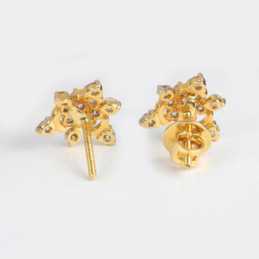 14k Gold & Diamond Flower Design Earrings