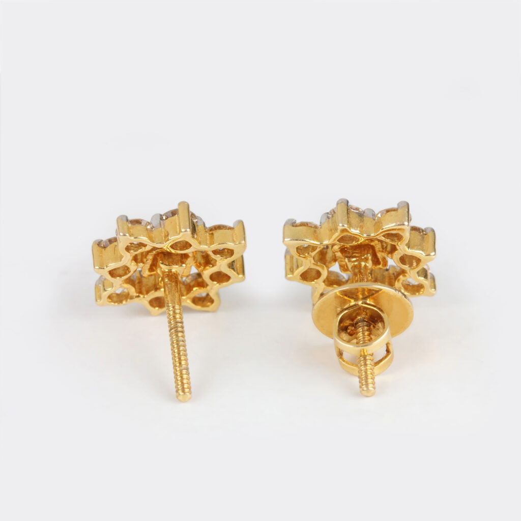 Round Diamond 14k Solid Gold Earrings