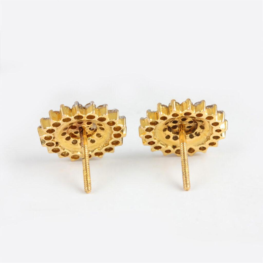 14k Gold Diamond Flower Earrings