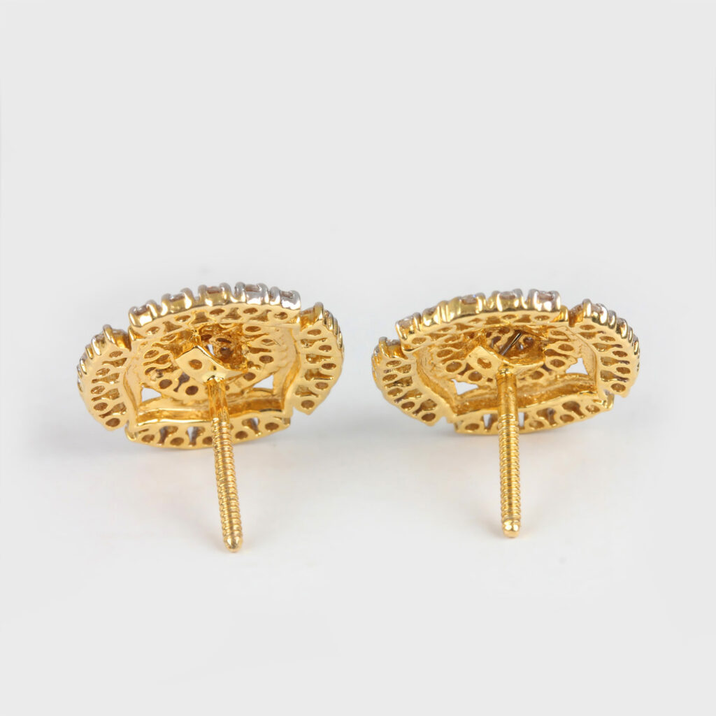 14k Gold Round Earrings With Diamonds
