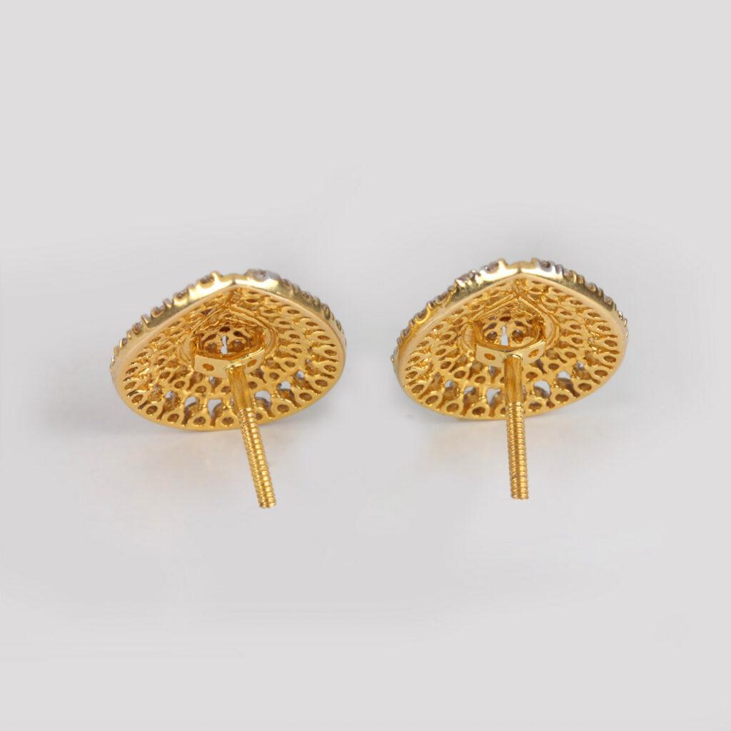 Gold & Diamond Pear Shape Earrings