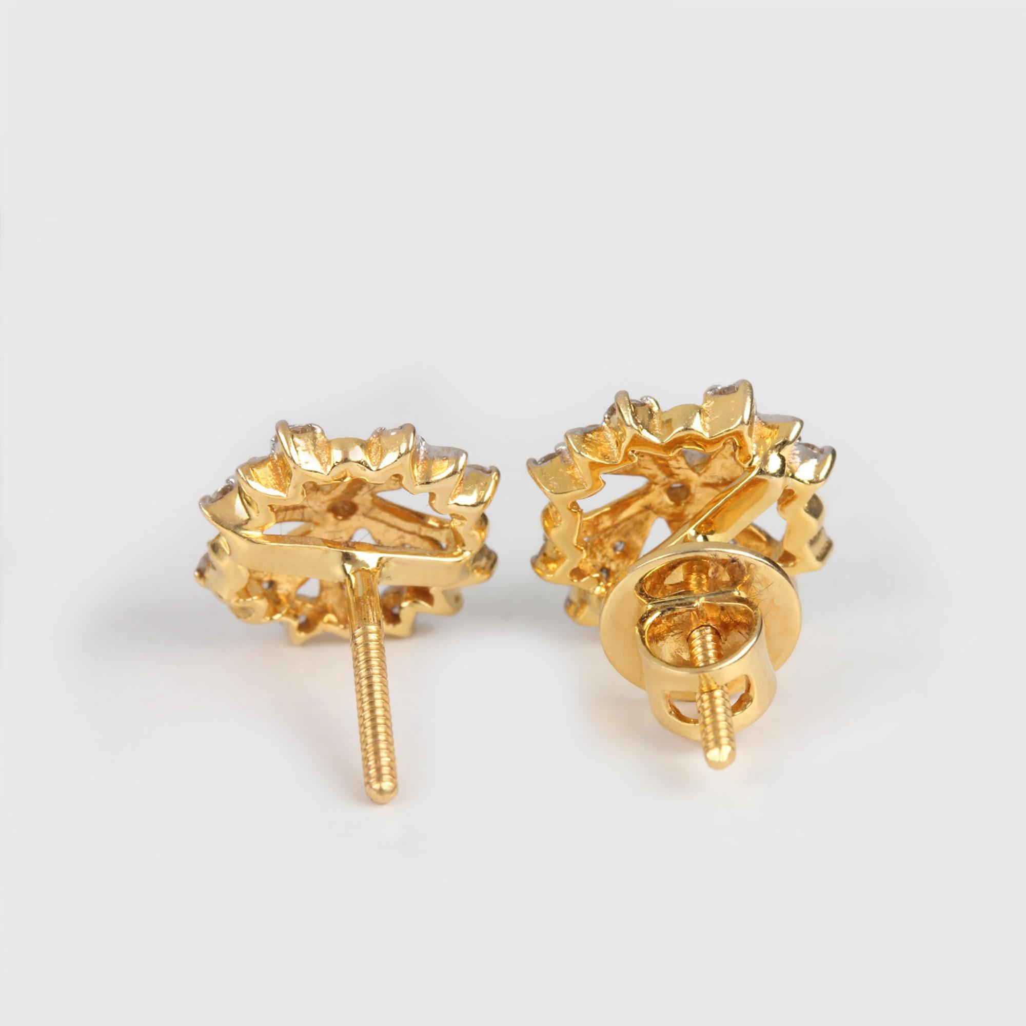 Diamond Beautifull Earrings In Yellow Gold