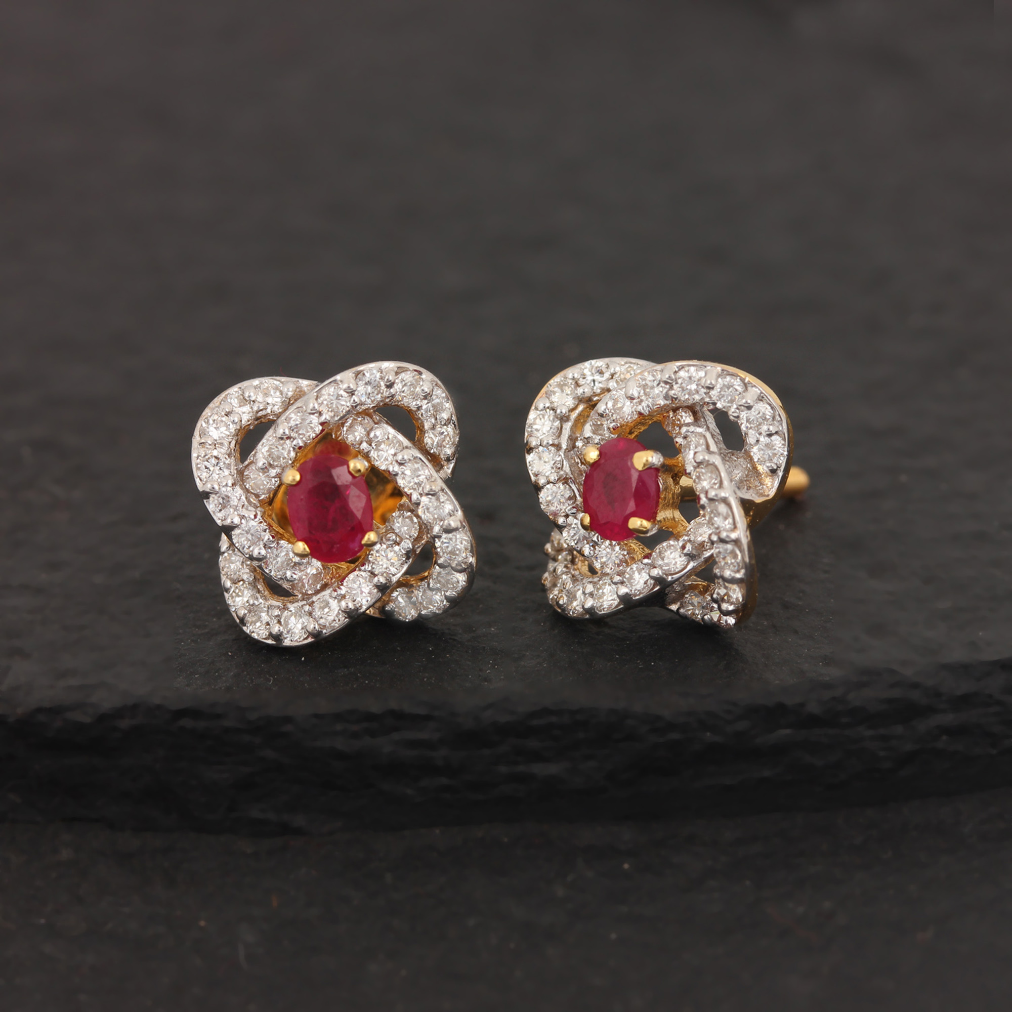Gold Diamond Earrings With Ruby