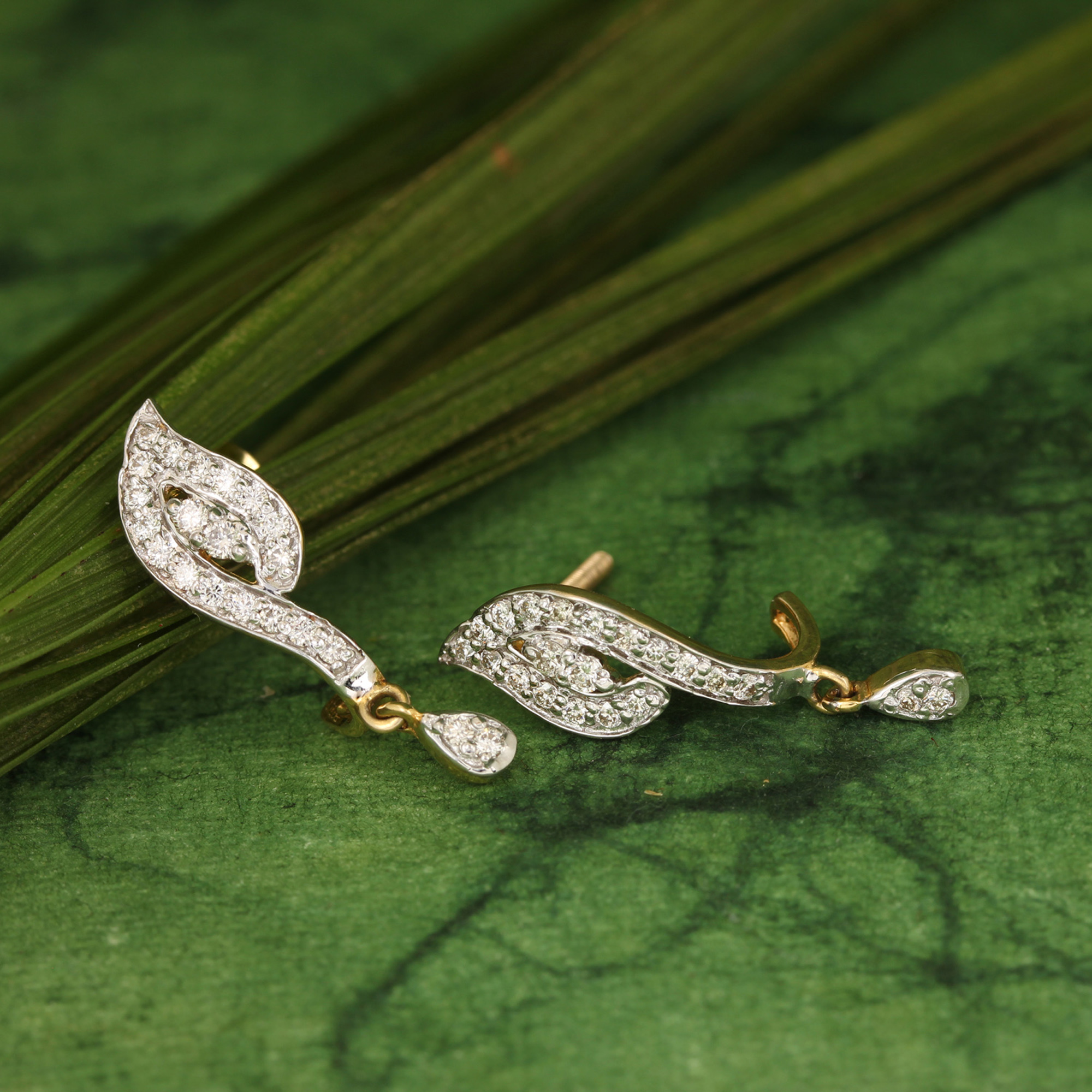 Natural Diamond Earrings In Solid Gold