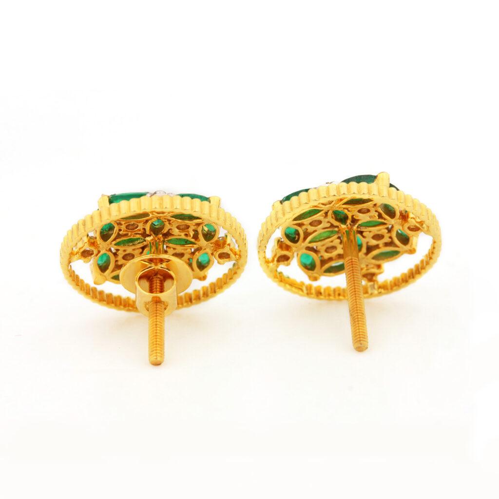 Diamond & Emerald Gold Earrings