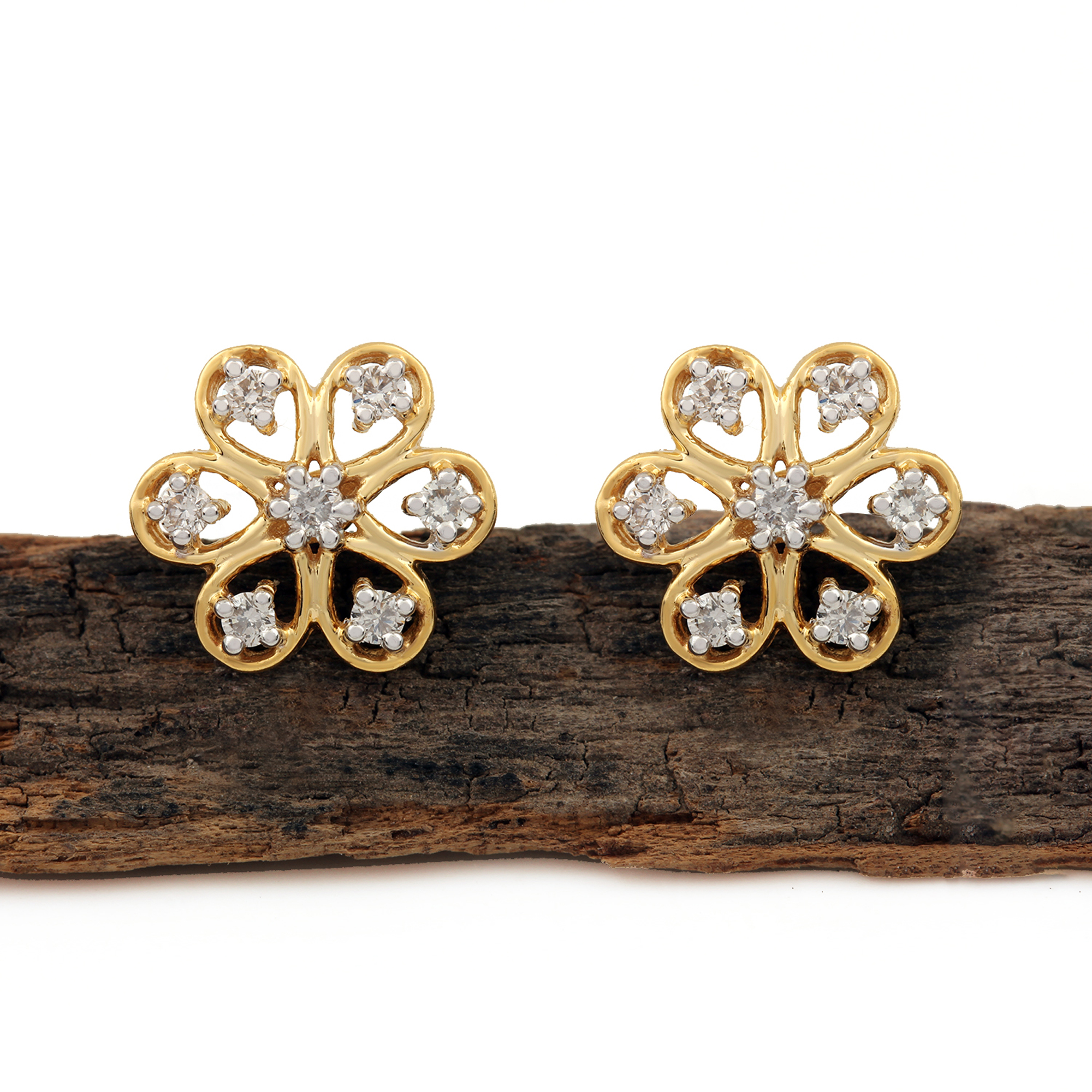 Solid Gold Natural Diamond Earrings
