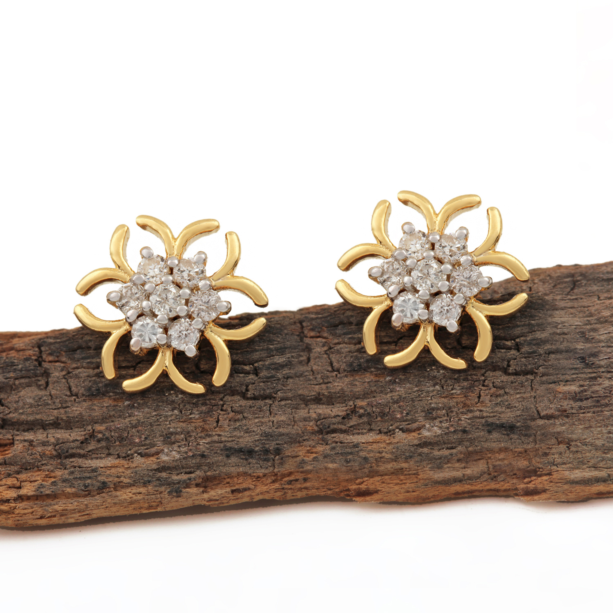Solid 14k Gold Natural Diamond Earrings