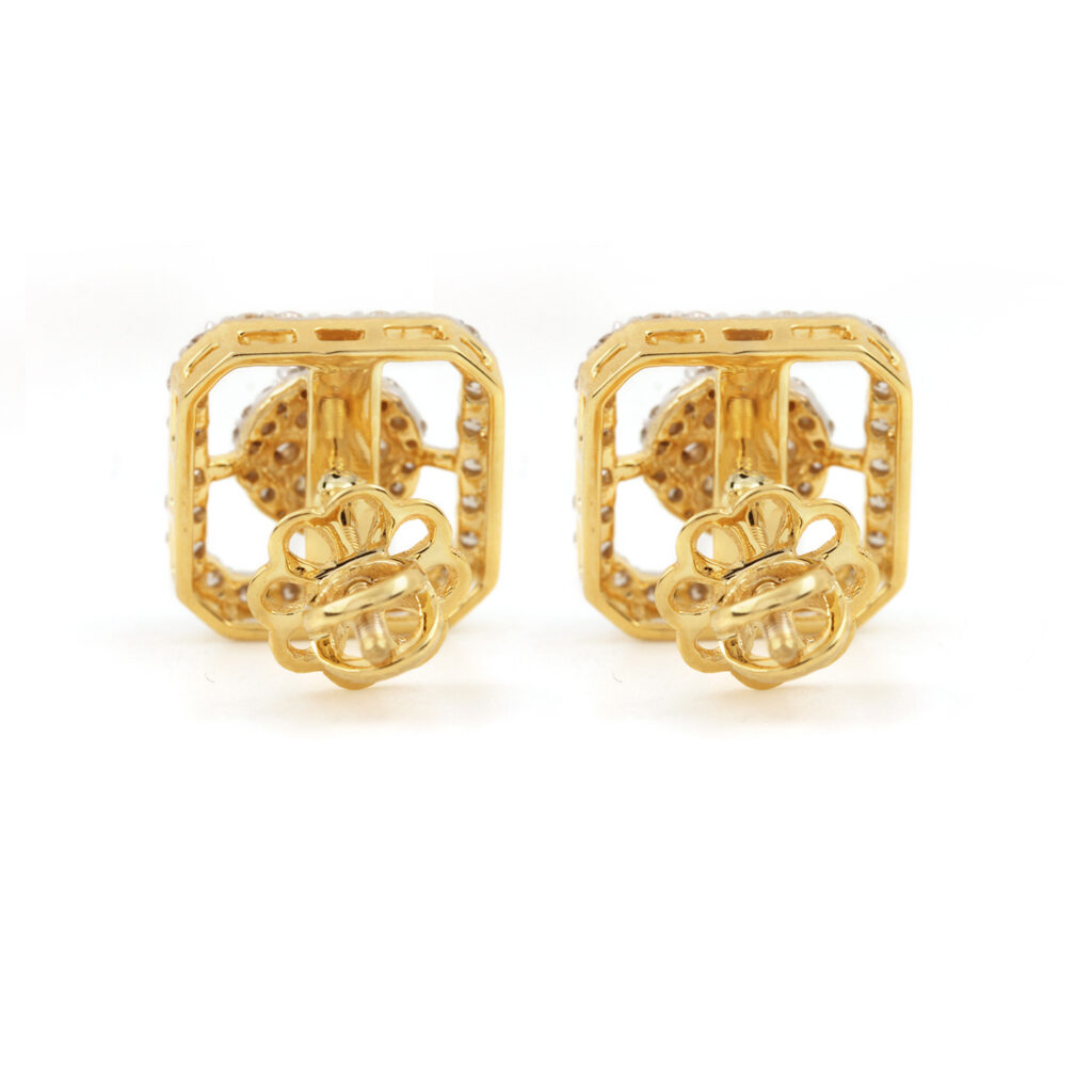 14k Solid Gold Natural Diamond Earrings