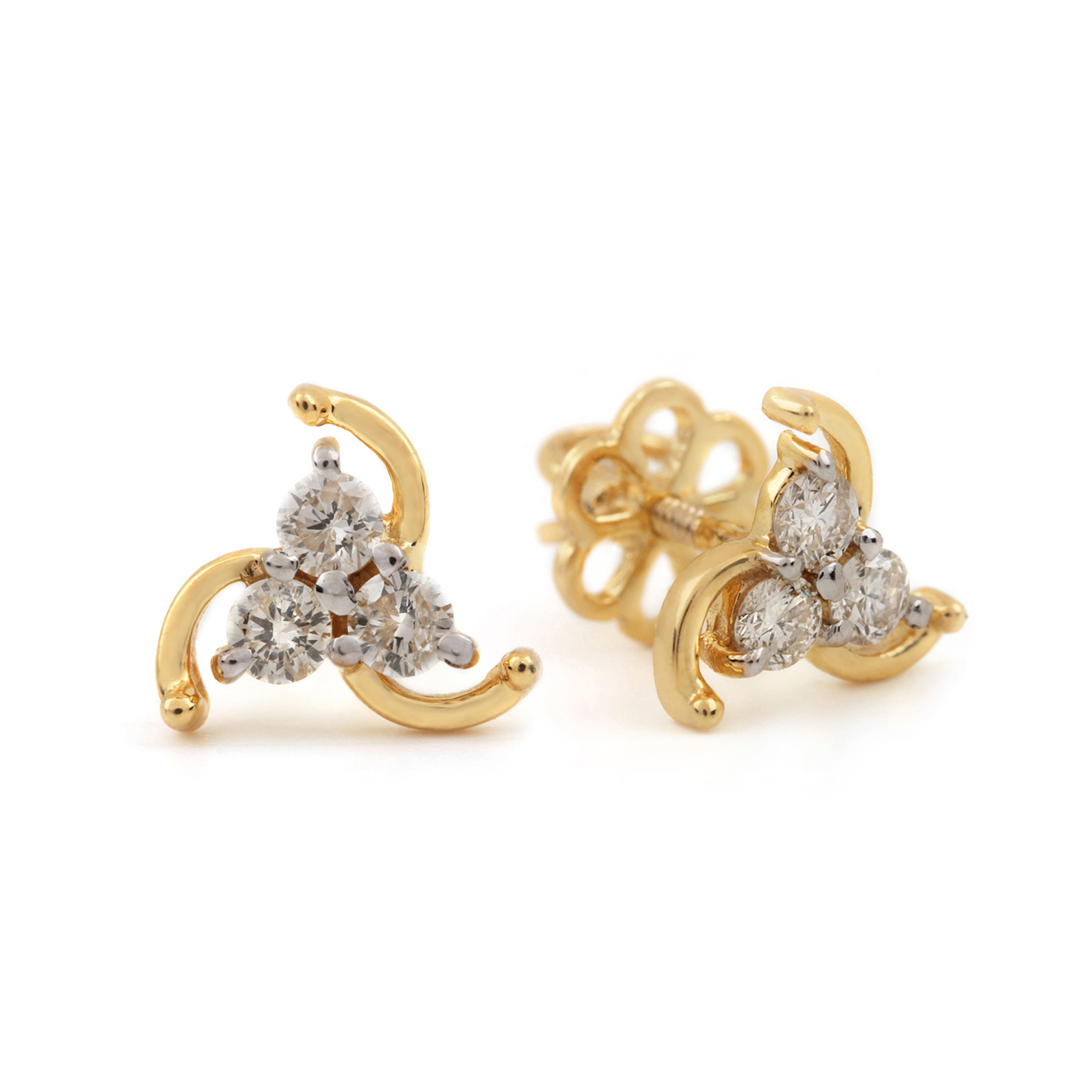 Solid 14k Yellow Gold Natural Diamond Earrings