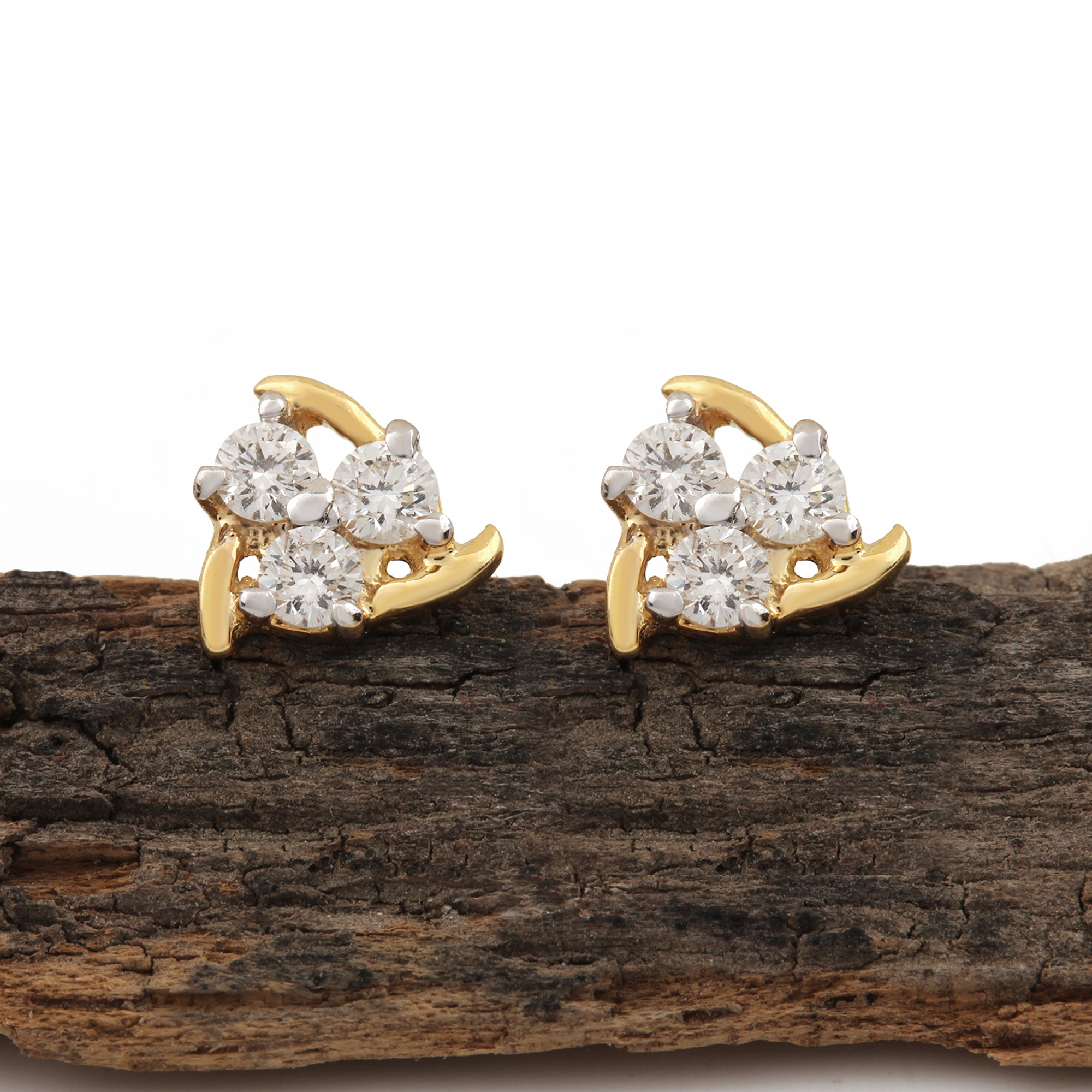 Natural Diamond Solid Gold Earrings
