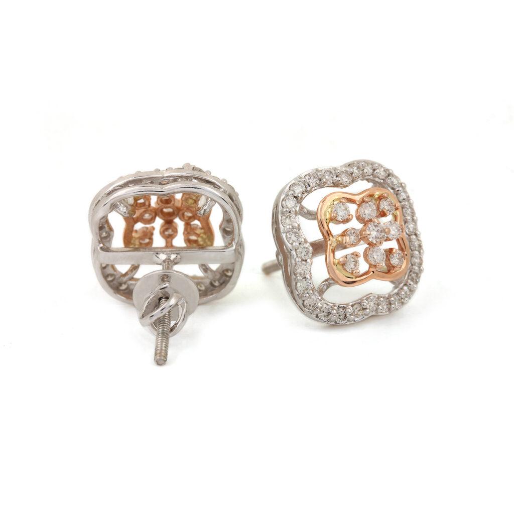 Natural Diamond Stud Earrings, 14k Gold Fine Jewelry