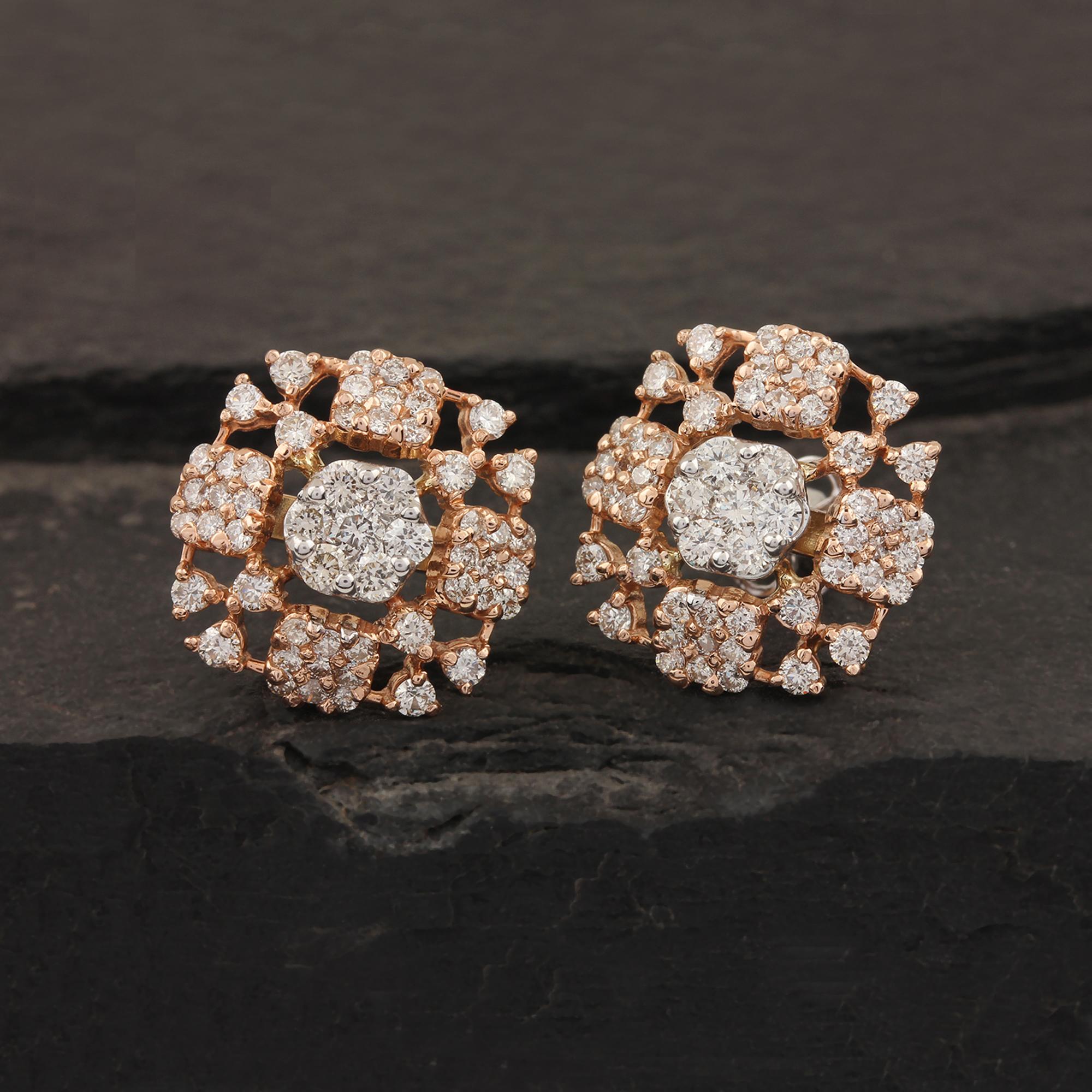14k Gold Genuine Diamond Earrings