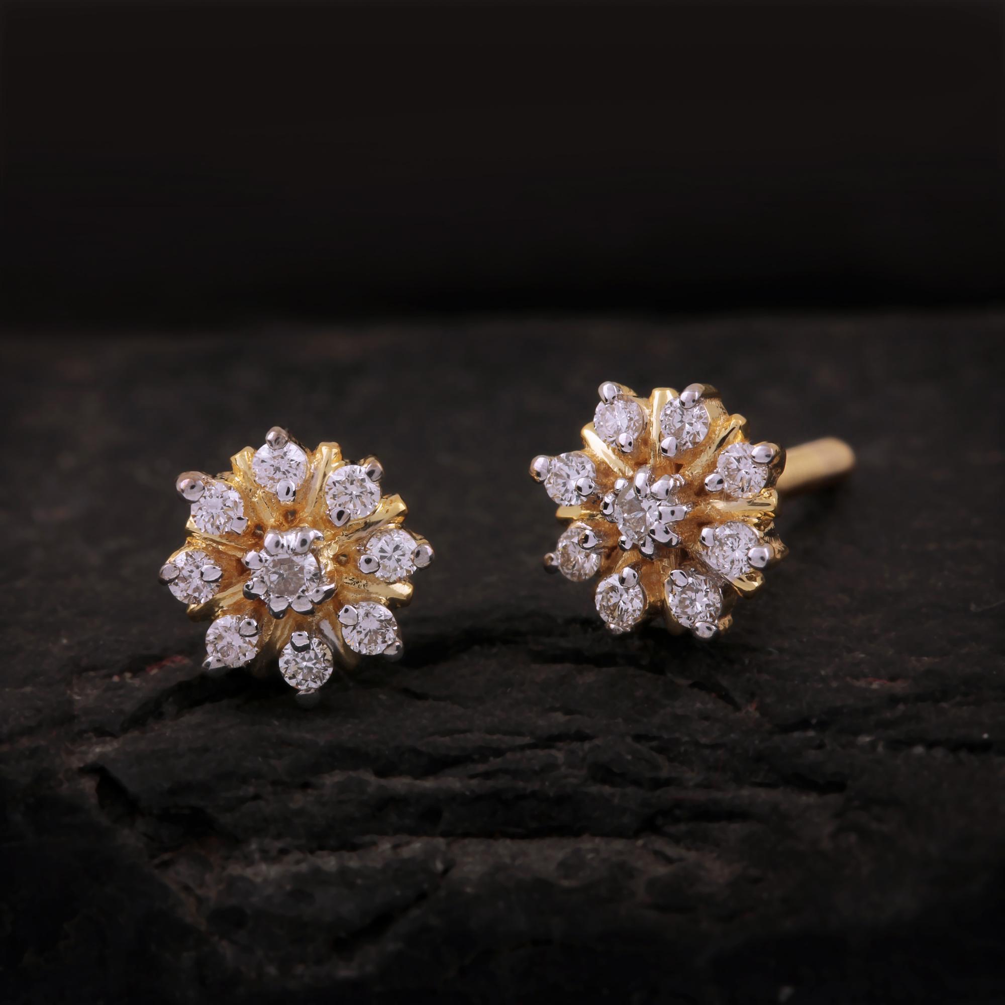 Yellow Gold Diamond Stud Earrings