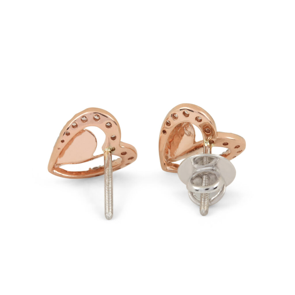Solid Yellow Gold Natural Diamond Earrings