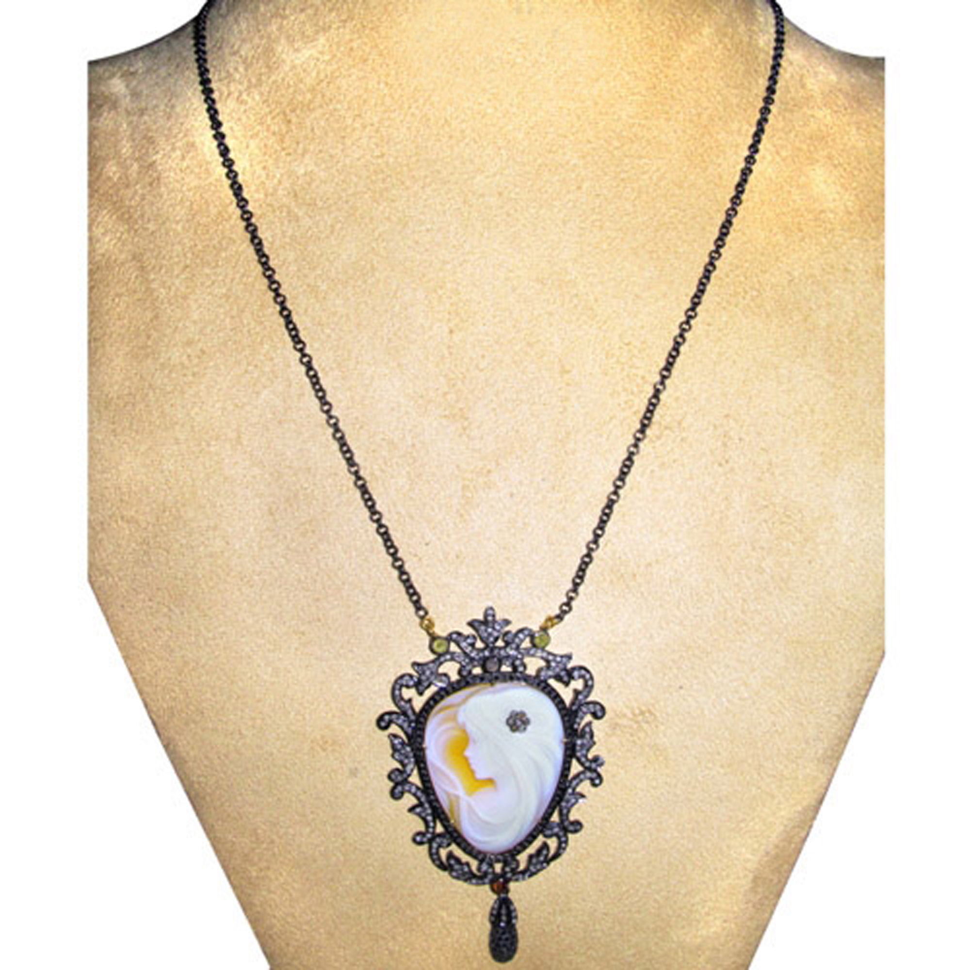Gold & Silver cameo carving diamond vintage chain necklace
