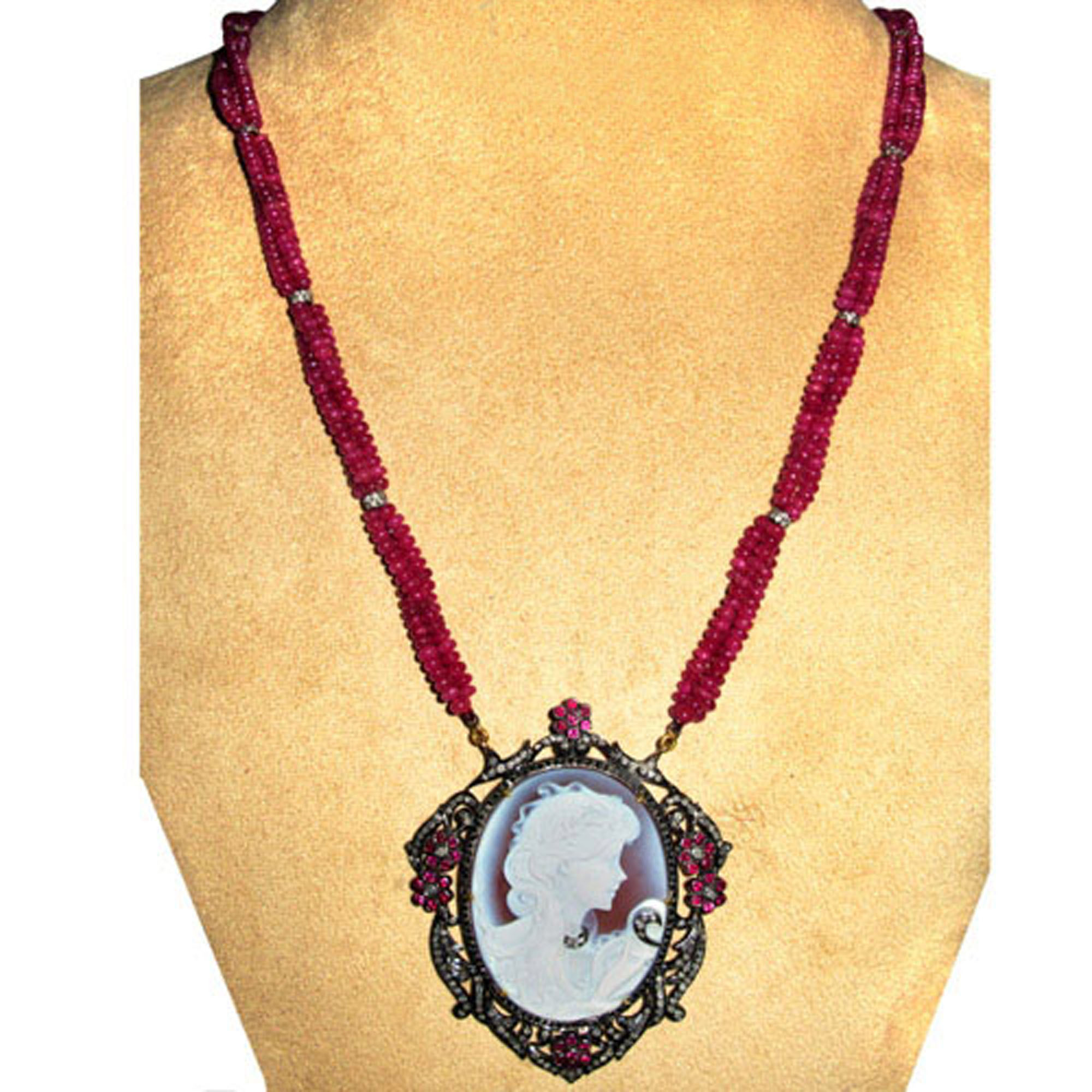Natural diamond cameo carved pendant with ruby beads necklace fine jewelry