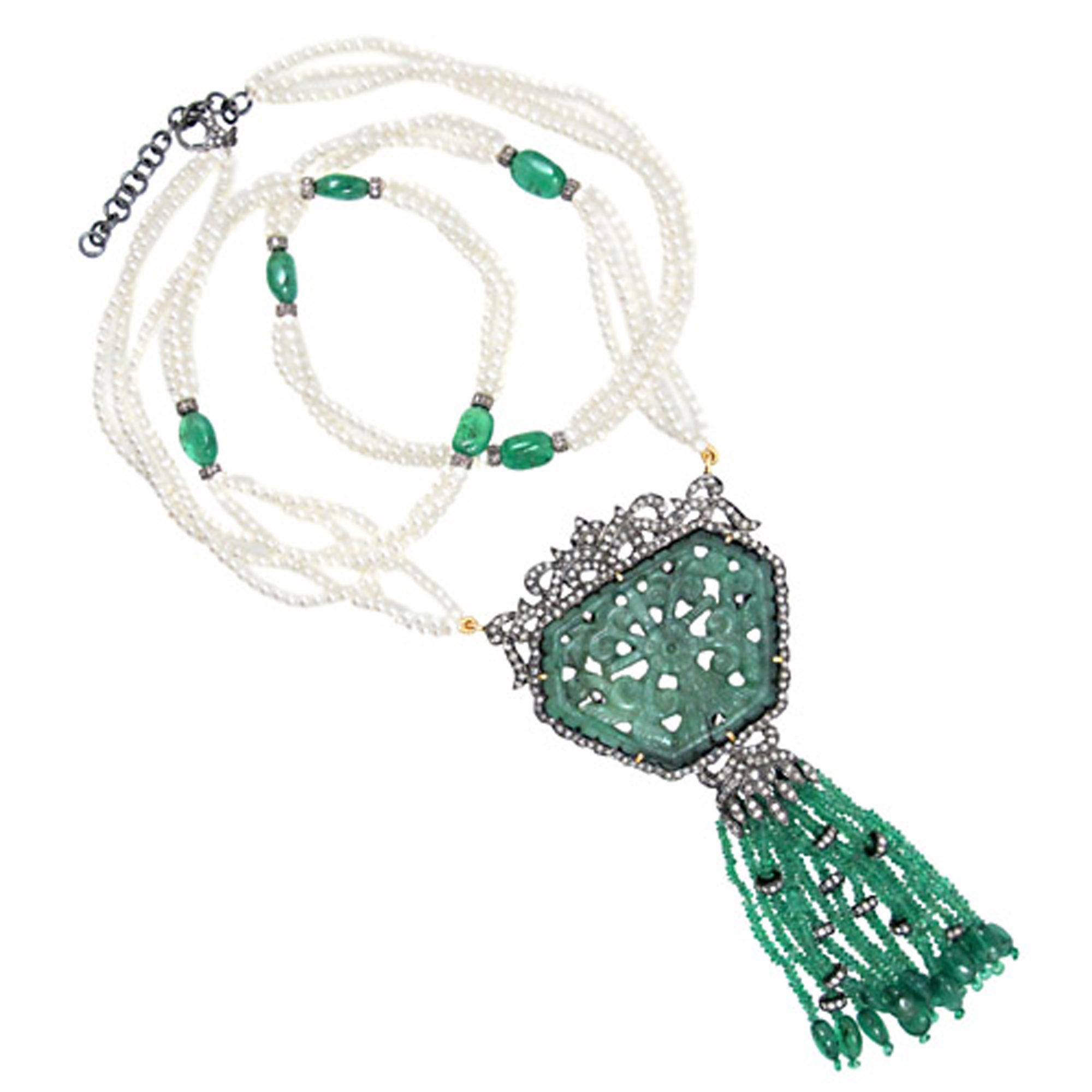 Natural gemstone emerald carving pendant pearl tassel necklace