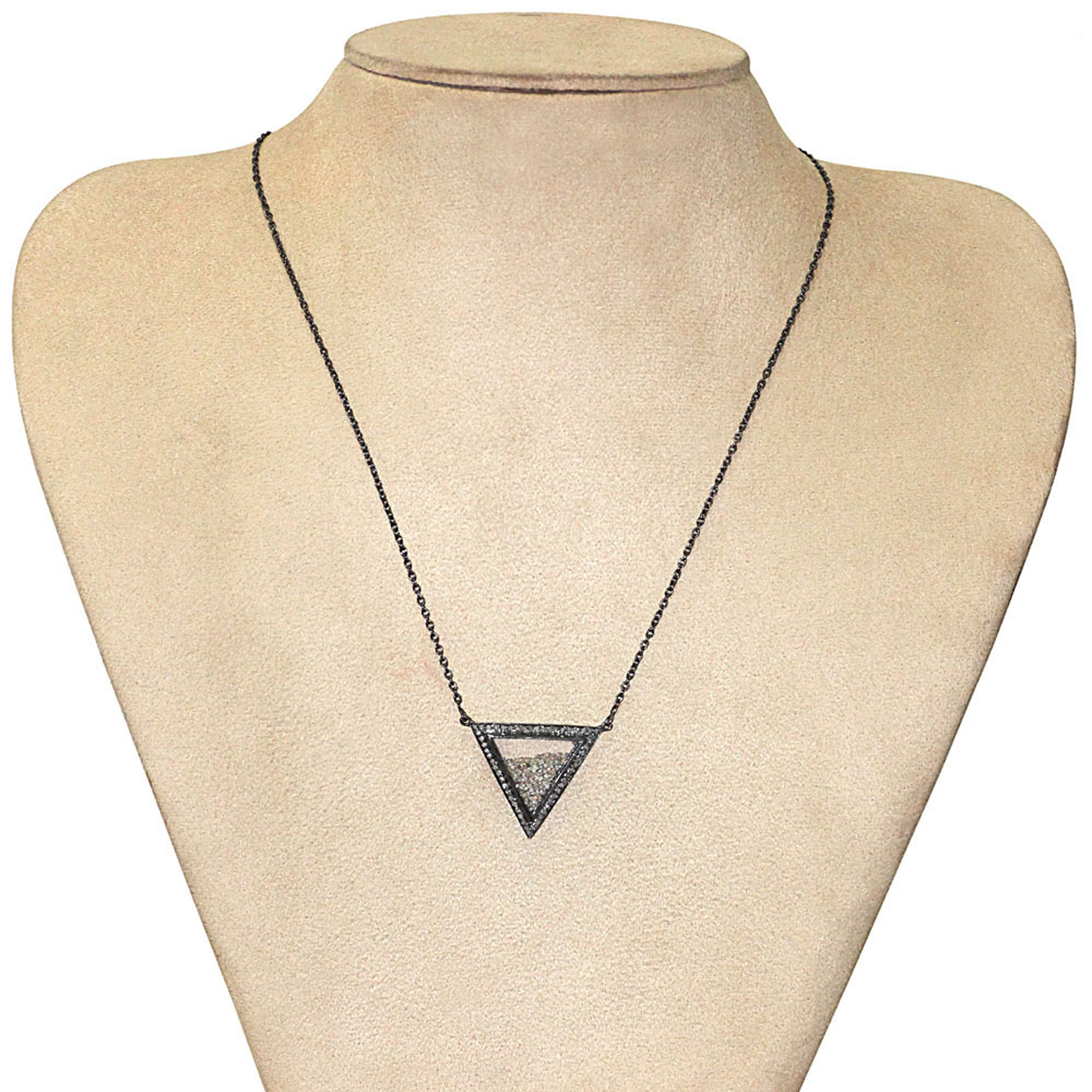 Genuine diamond 925 sterling silver crystal shaker necklace with chain