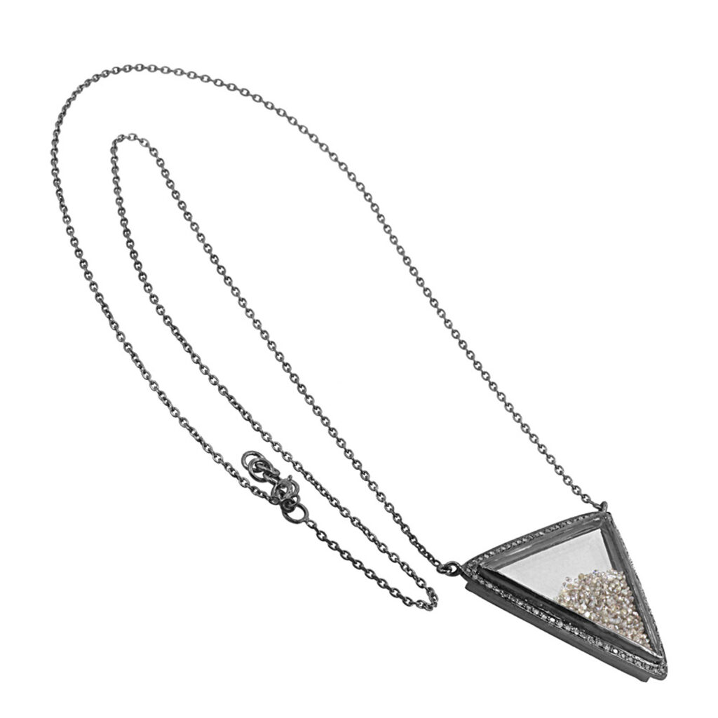 Real diamond 925 sterling silver crystal shaker pendant with chain