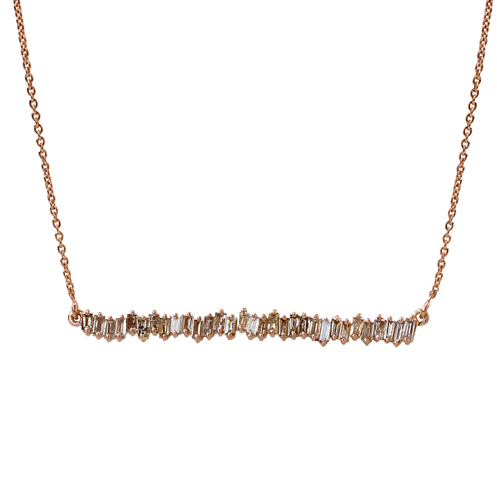 Baguette diamond 18k solid gold necklace with chain
