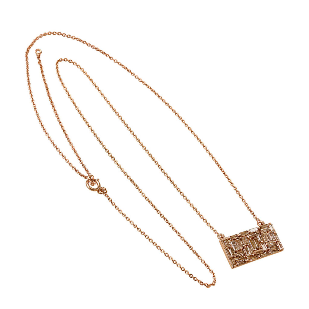 Solid 18k gold baguette diamond pendant necklace with chain
