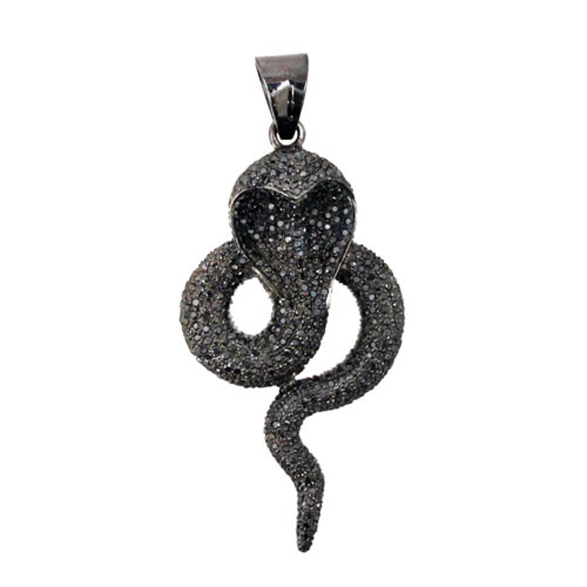 Sterling silver diamond snake pendant handmade jewelry
