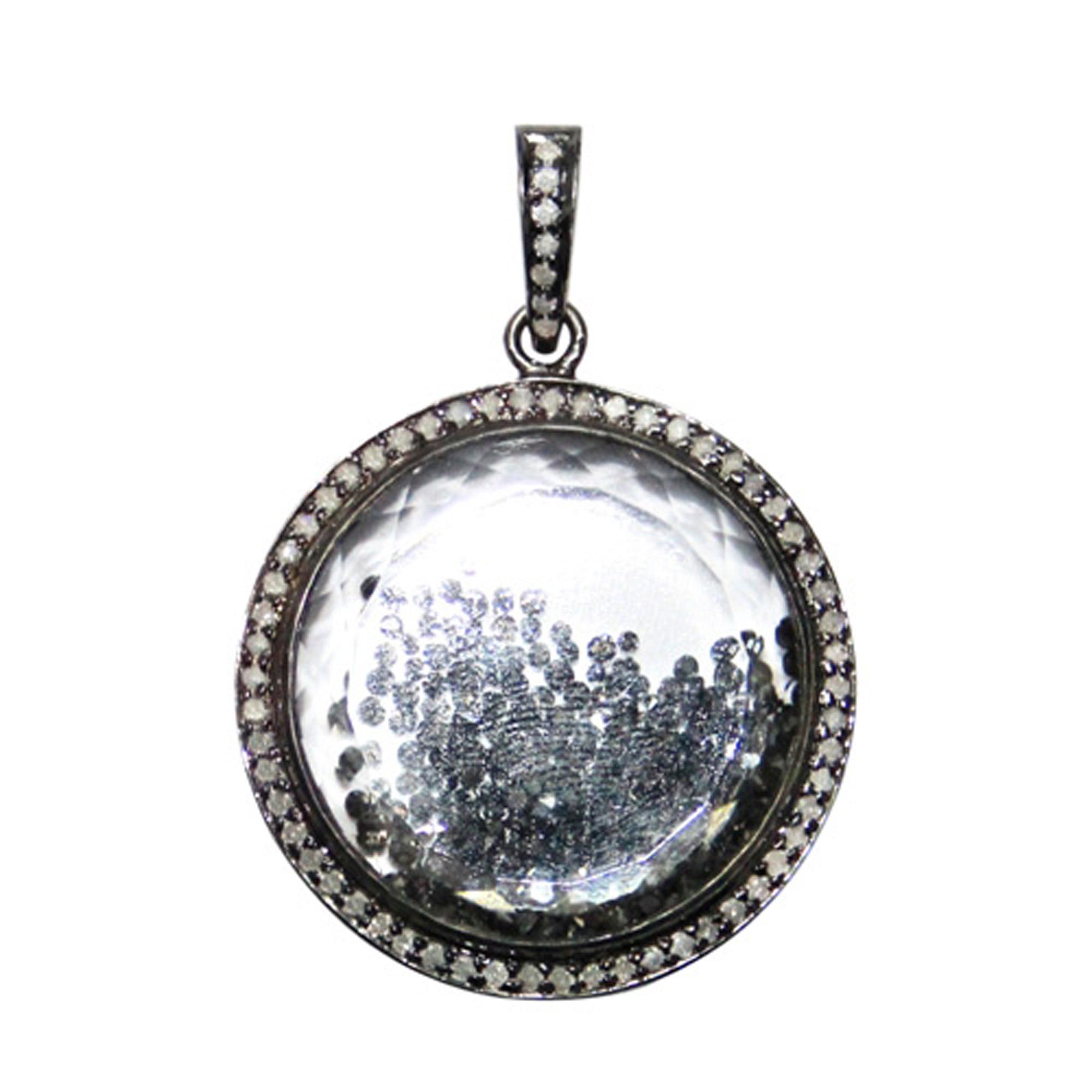 925 sterling silver Natural diamond crystal shaker pendant