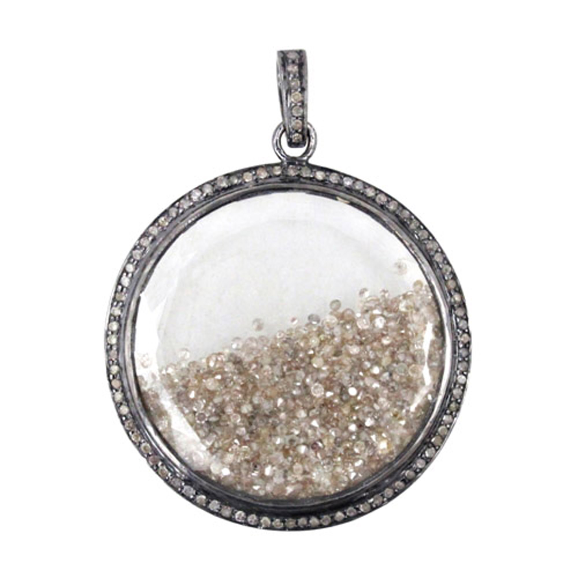 Natural 8.83ct loose diamond 925 sterling silver crystal shaker pendant