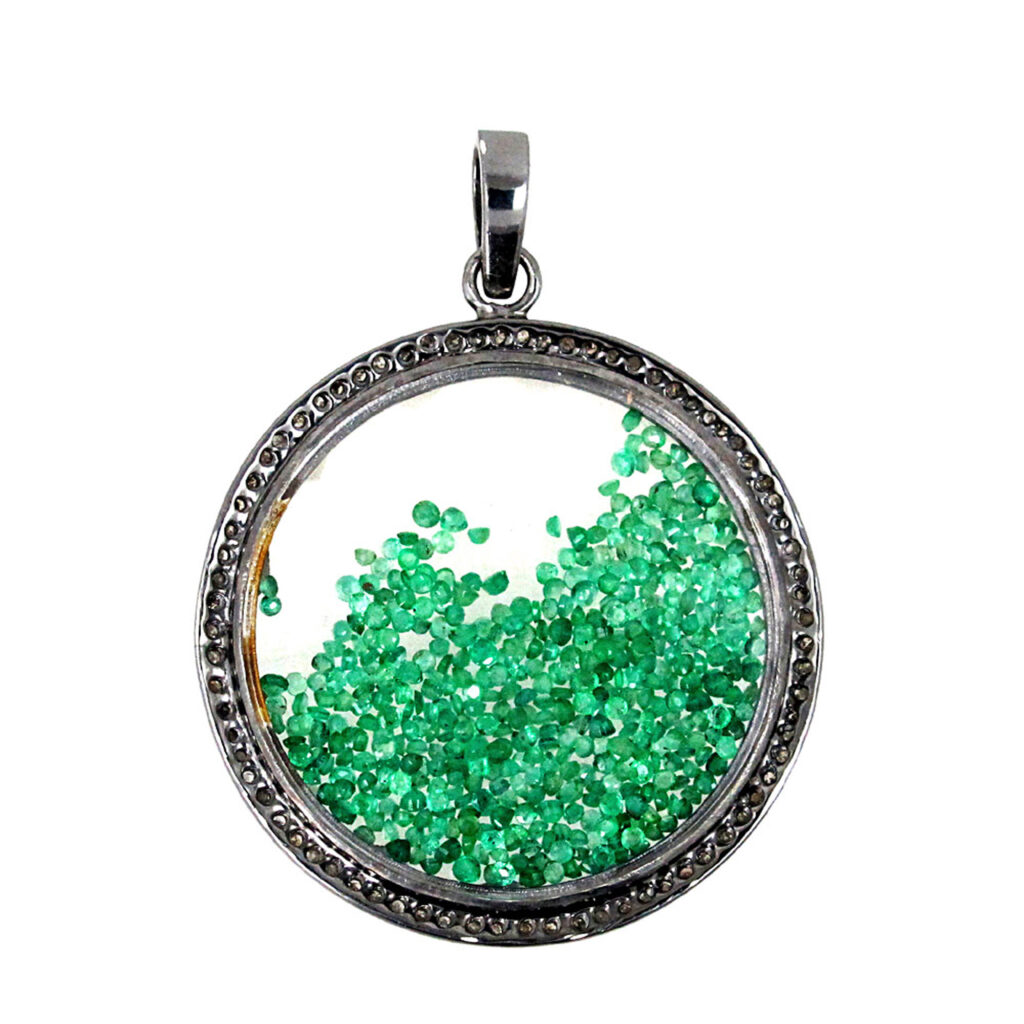 Emerald 925 sterling silver loose diamond crystal shaker pendant