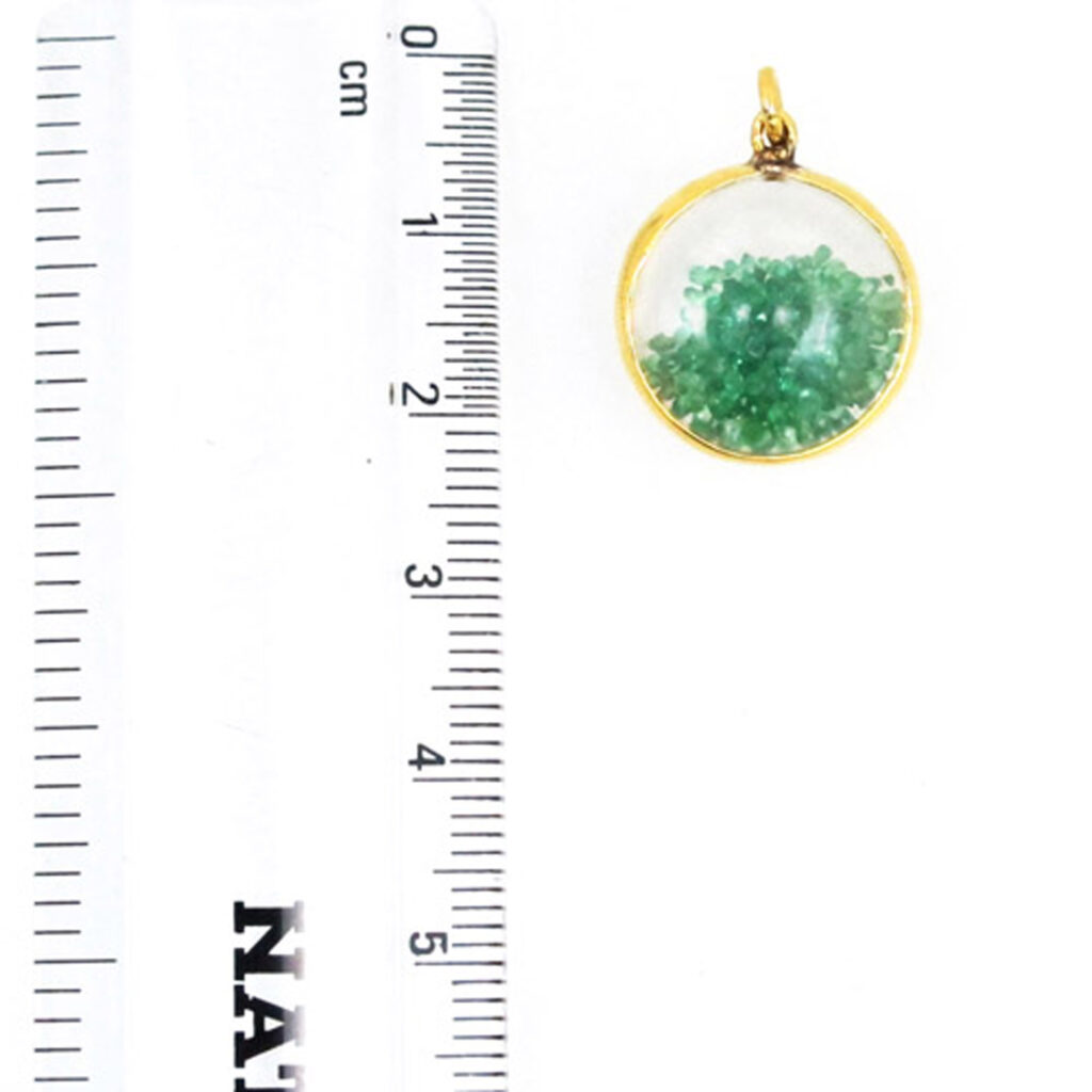 Crystal quartz shaker pendant 14k solid gold with emerald jewelry