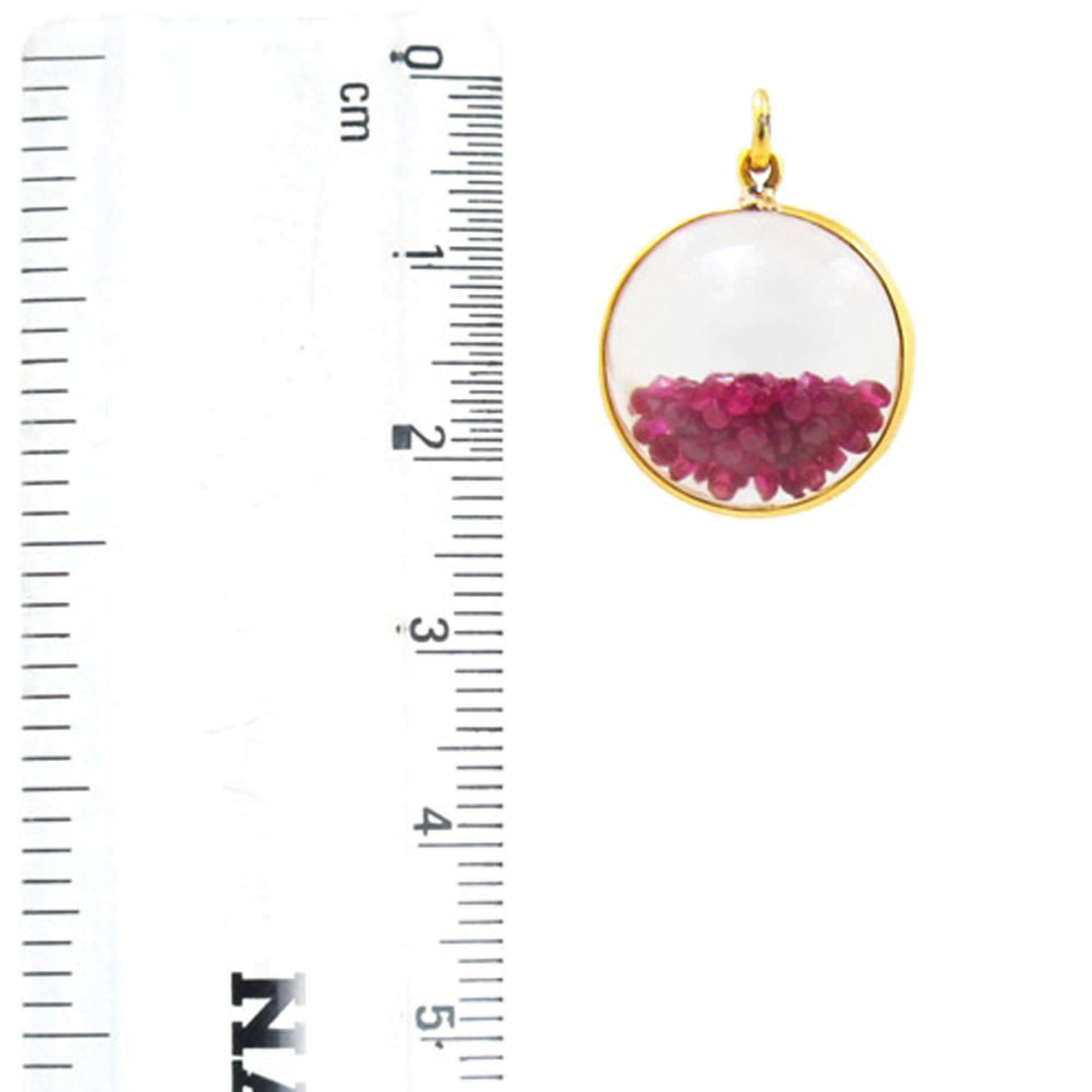 Shaker pendant 14k solid gold crystal with loose ruby
