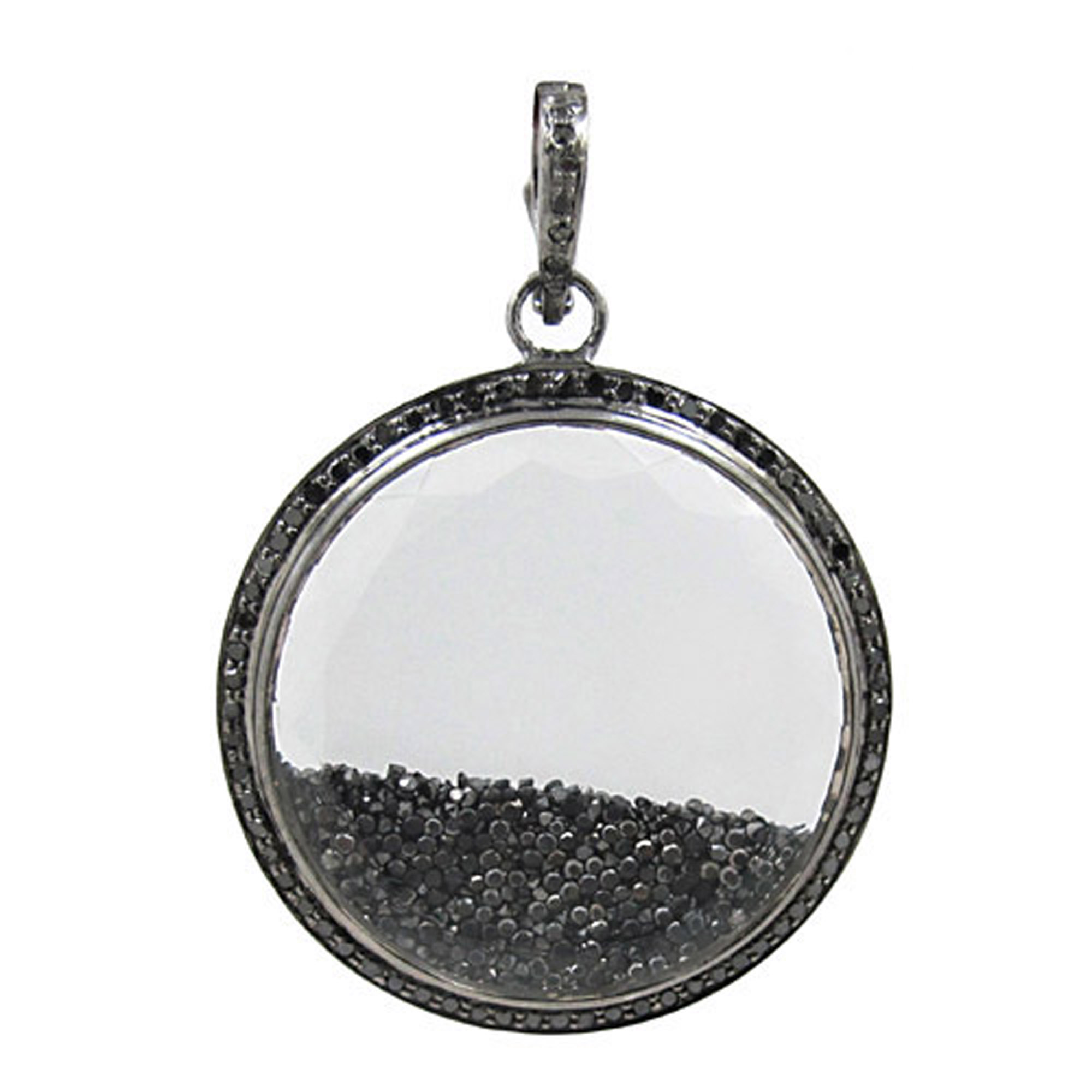 925 sterling silver crystal shaker pendant with real diamond