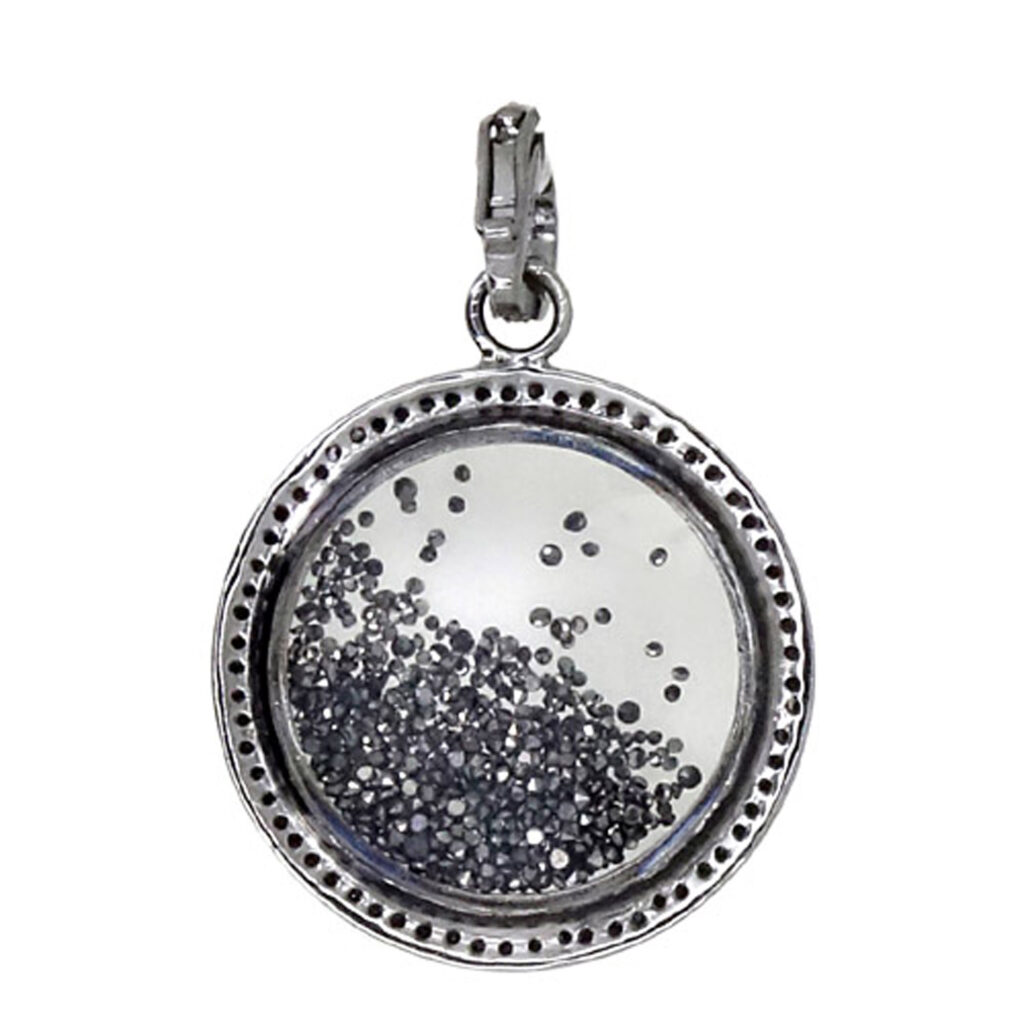 925 Sterling silver with real diamond cystal shaker pendant