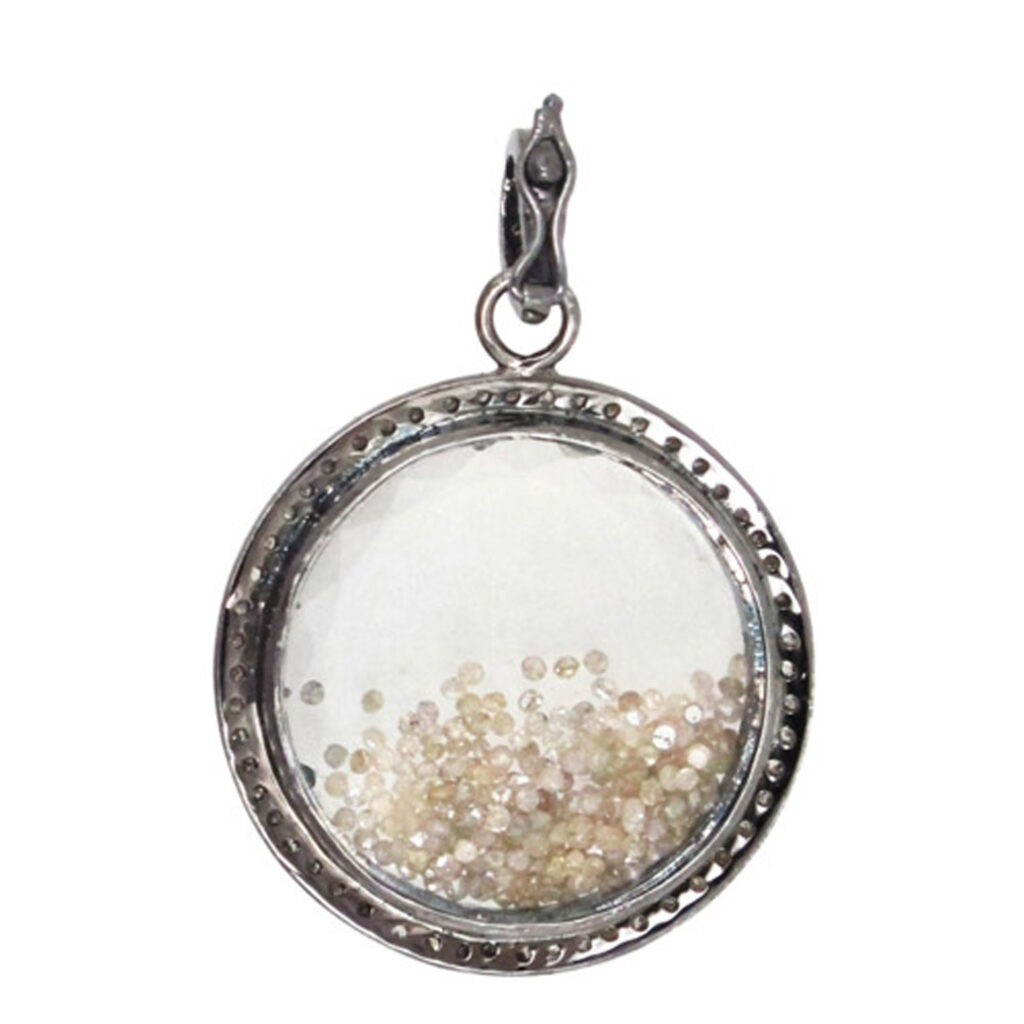 Natural loose diamond & 925 silver crystal shaker pendant