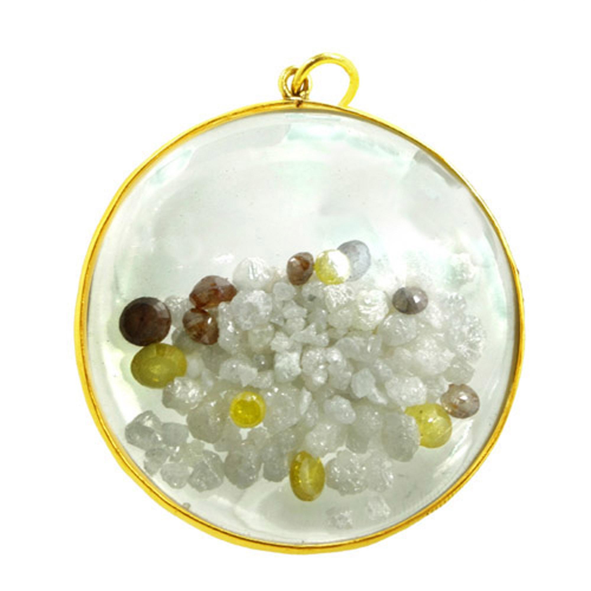 21.83 Natural diamond 14k solid gold crystal shaker pendant