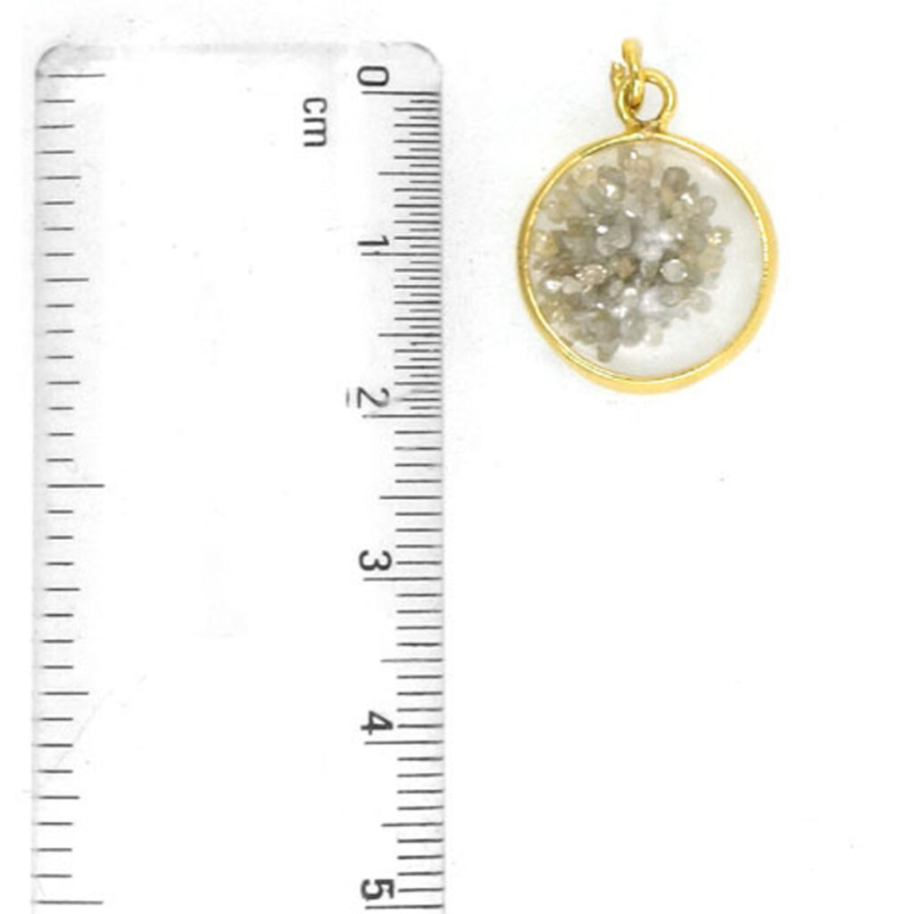 Real diamond Crystal shaker pendant made in 14k solid gold