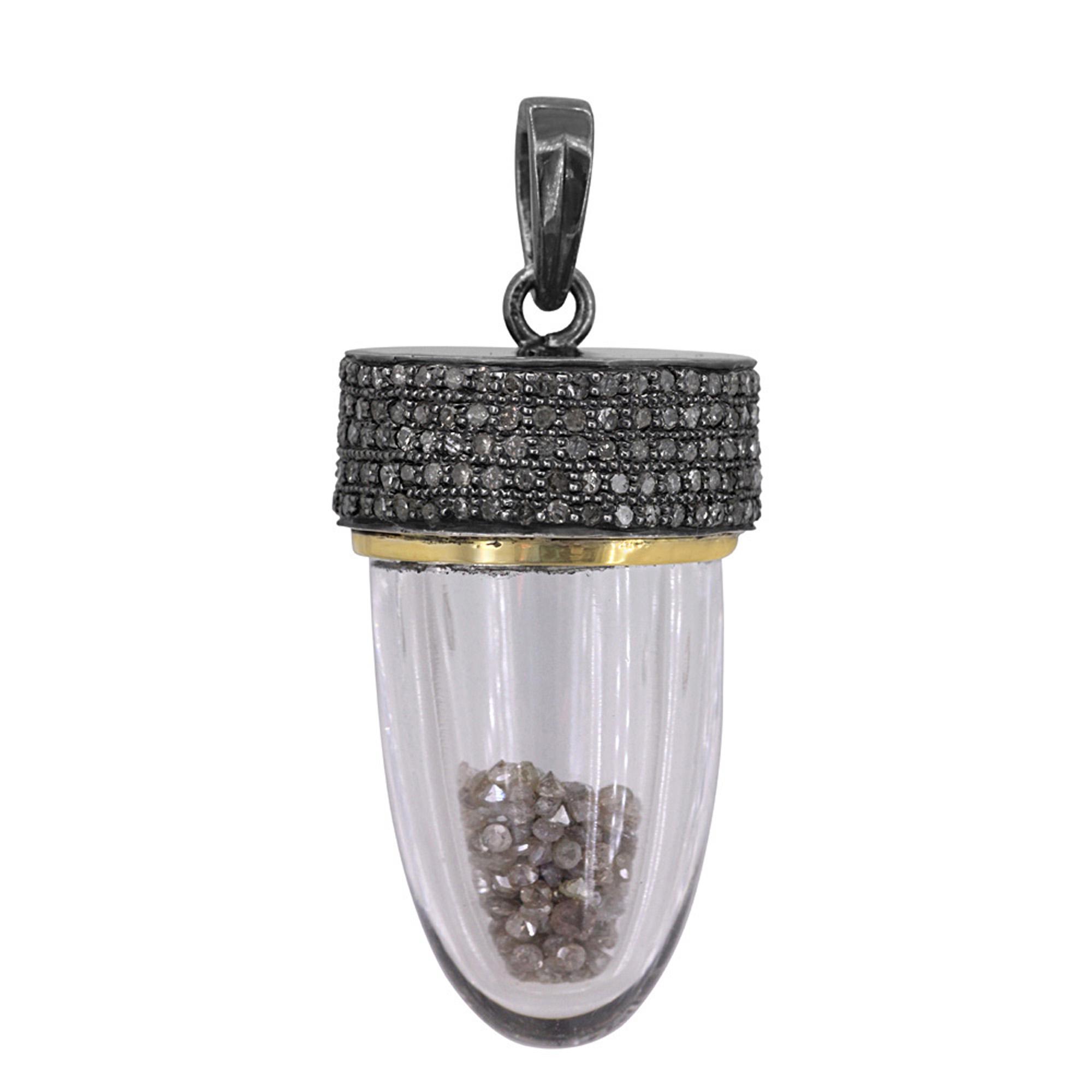 Natural diamond 925 sterling silver crystal drop shaker pendant